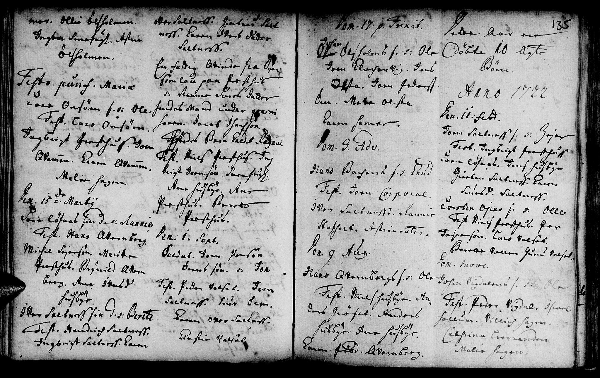 SAT, Ministerialprotokoller, klokkerbøker og fødselsregistre - Sør-Trøndelag, 666/L0783: Ministerialbok nr. 666A01, 1702-1753, s. 135
