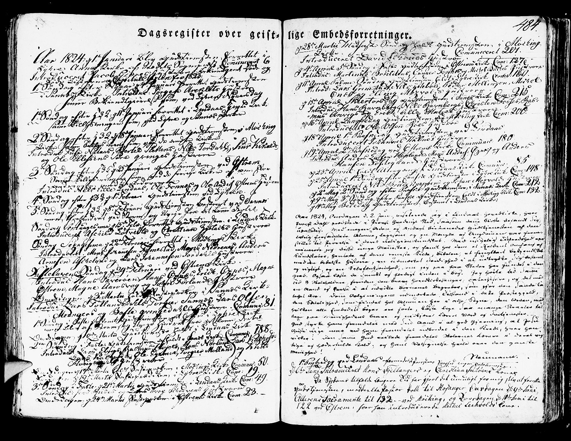SAB, Lindås Sokneprestembete, H/Haa: Ministerialbok nr. A 8, 1823-1836, s. 484