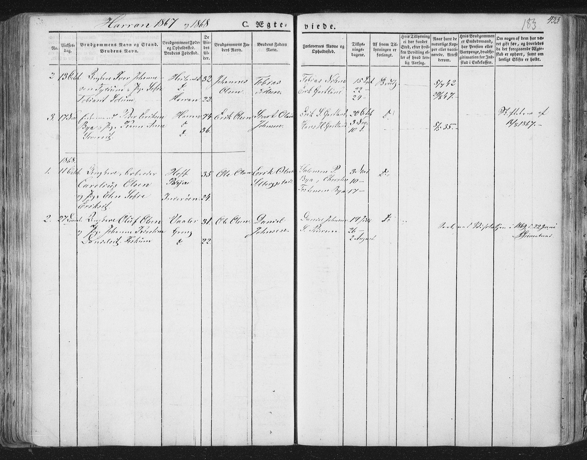 SAT, Ministerialprotokoller, klokkerbøker og fødselsregistre - Nord-Trøndelag, 758/L0513: Ministerialbok nr. 758A02 /3, 1839-1868, s. 183
