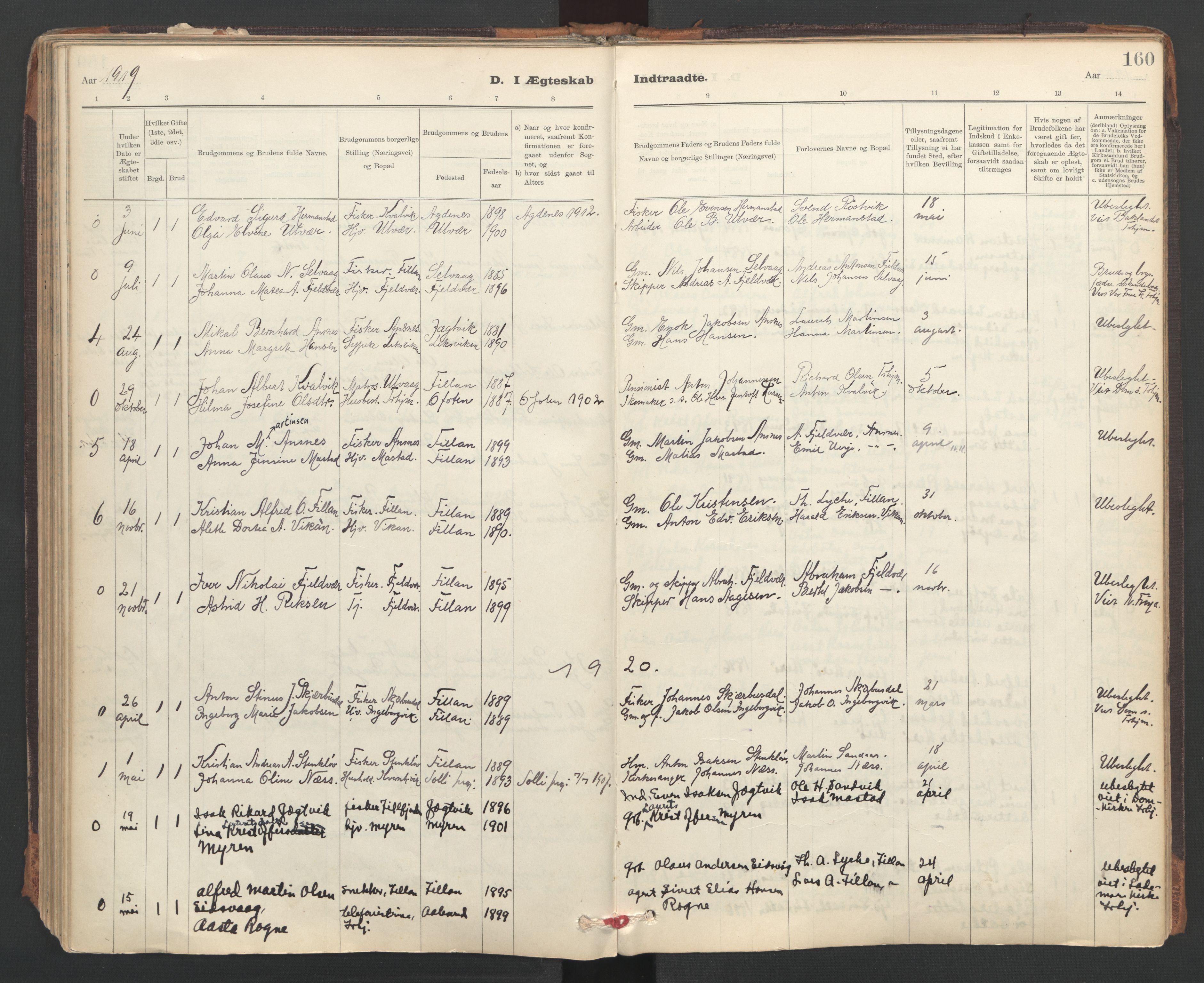 SAT, Ministerialprotokoller, klokkerbøker og fødselsregistre - Sør-Trøndelag, 637/L0559: Ministerialbok nr. 637A02, 1899-1923, s. 160