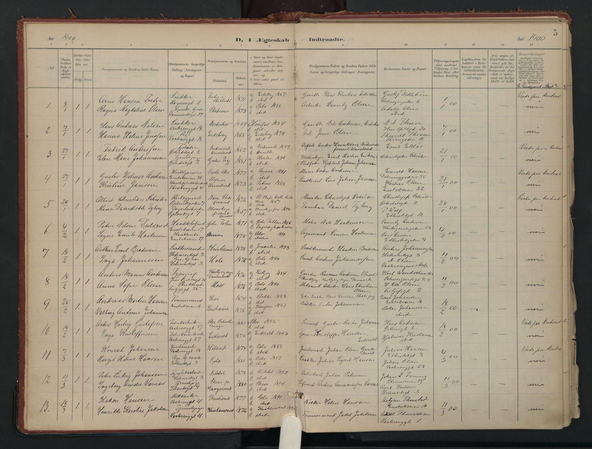 SAO, Vålerengen prestekontor Kirkebøker, F/Fa/L0002: Ministerialbok nr. 2, 1899-1924, s. 5