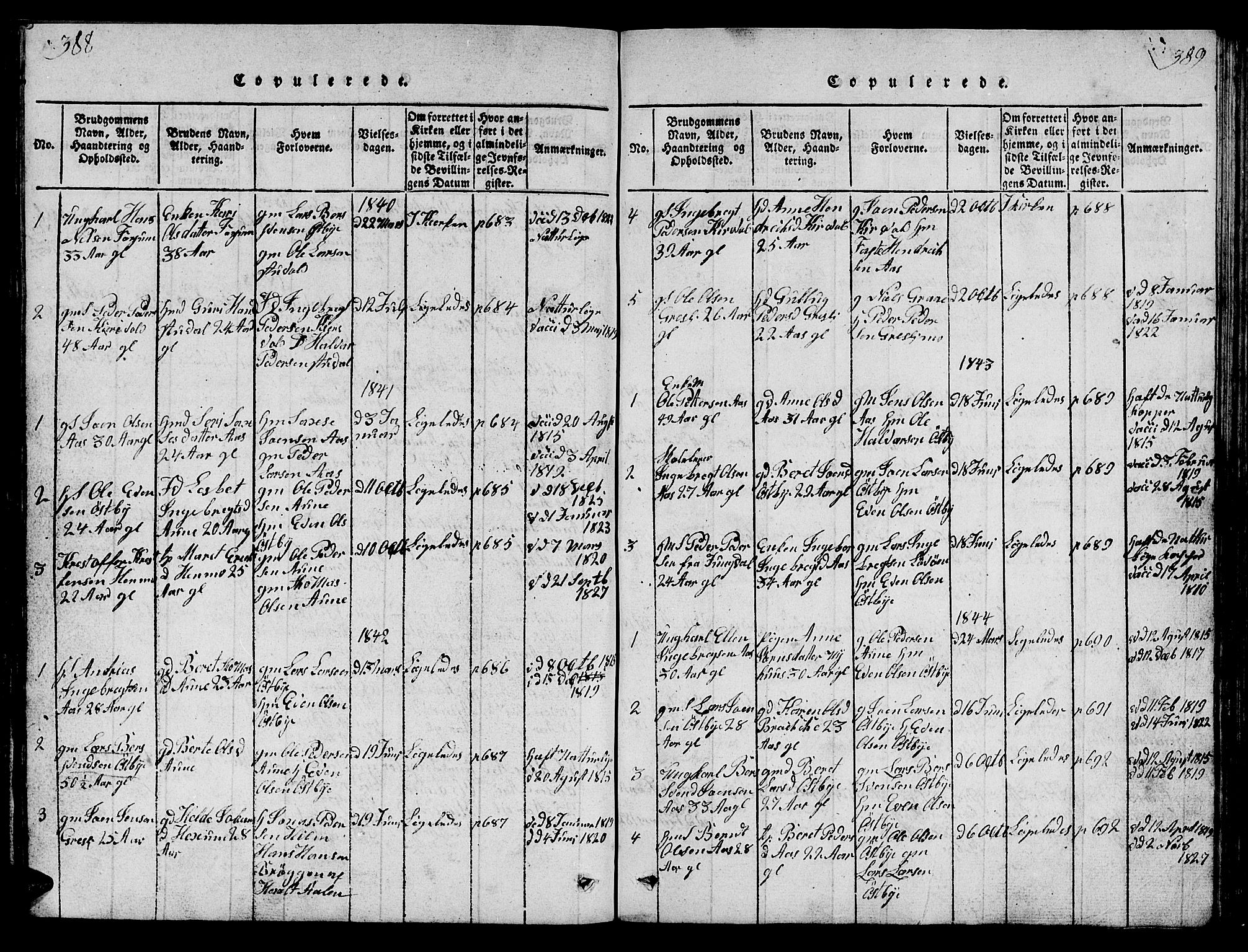 SAT, Ministerialprotokoller, klokkerbøker og fødselsregistre - Sør-Trøndelag, 698/L1164: Klokkerbok nr. 698C01, 1816-1861, s. 388-389