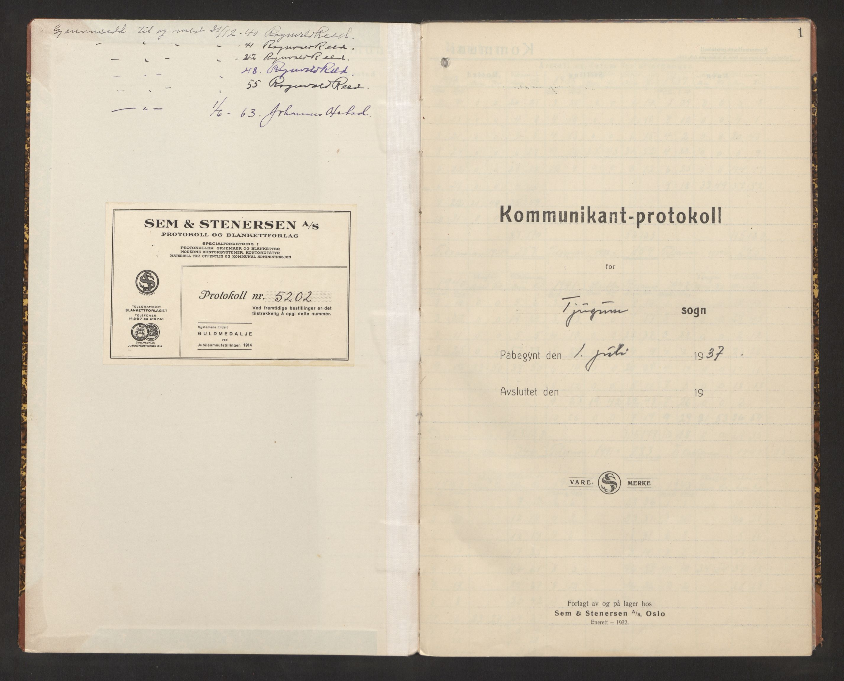 SAB, Balestrand Sokneprestembete, H/Hb/Hba/L0004: Kommunikantprotokoll nr. A 4, 1937-1964, s. 1