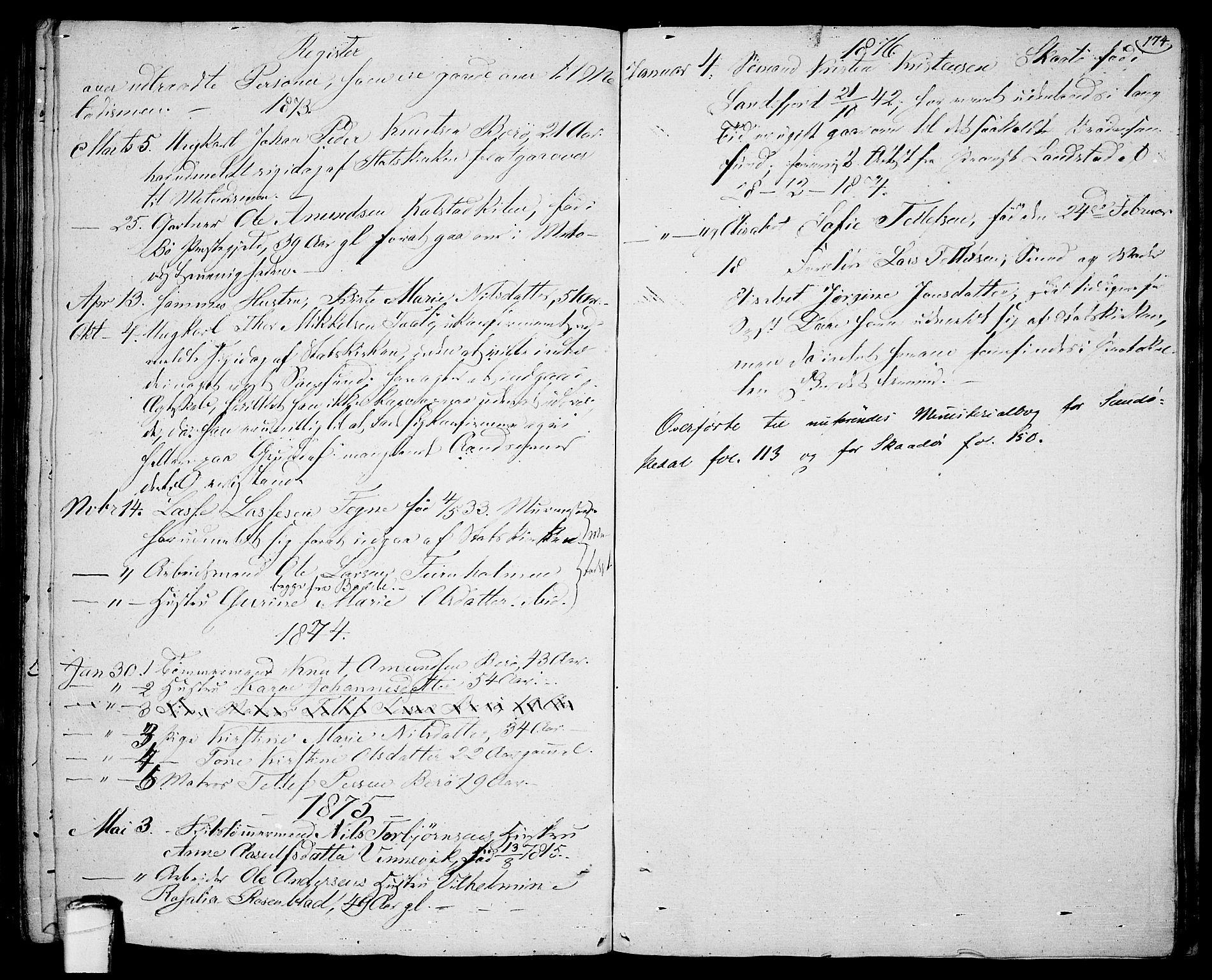 SAKO, Sannidal kirkebøker, F/Fa/L0005: Ministerialbok nr. 5, 1823-1830, s. 174