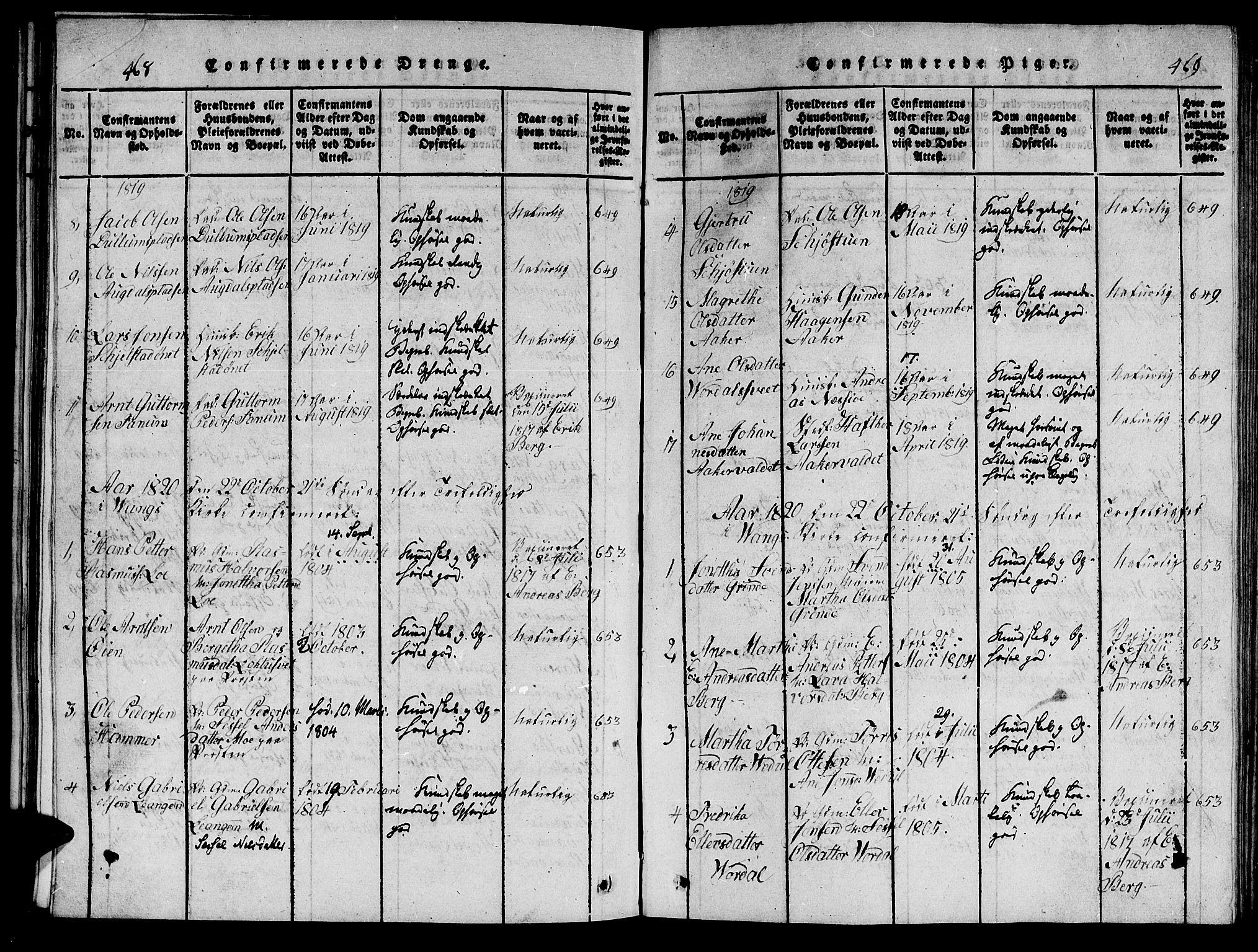 SAT, Ministerialprotokoller, klokkerbøker og fødselsregistre - Nord-Trøndelag, 714/L0132: Klokkerbok nr. 714C01, 1817-1824, s. 468-469
