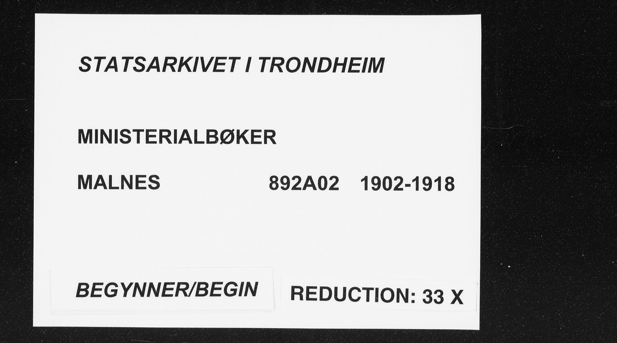 SAT, Ministerialprotokoller, klokkerbøker og fødselsregistre - Nordland, 892/L1321: Ministerialbok nr. 892A02, 1902-1918