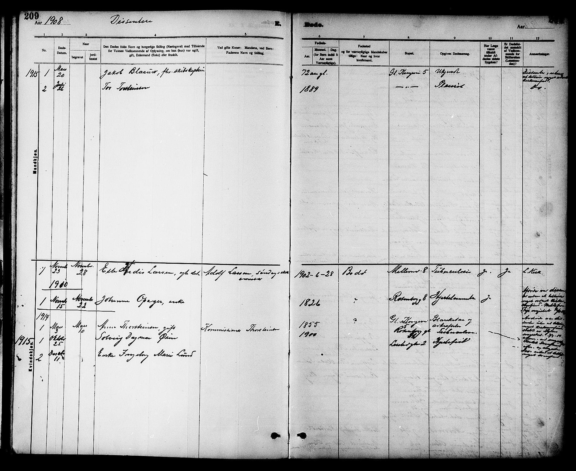 SAT, Ministerialprotokoller, klokkerbøker og fødselsregistre - Sør-Trøndelag, 605/L0255: Klokkerbok nr. 605C02, 1908-1918, s. 209