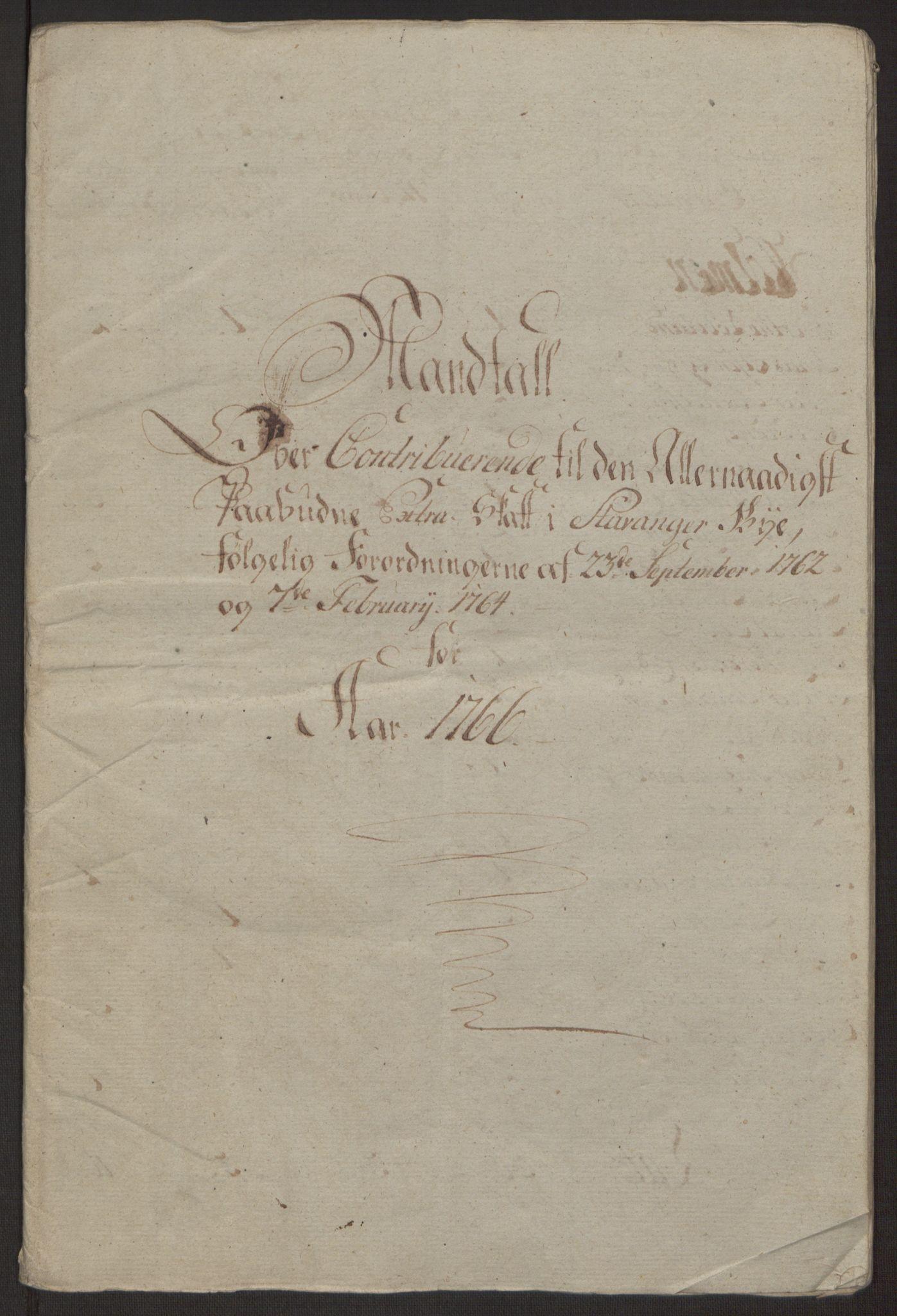 RA, Rentekammeret inntil 1814, Reviderte regnskaper, Byregnskaper, R/Ro/L0305: [O6] Kontribusjonsregnskap, 1762-1768, s. 151