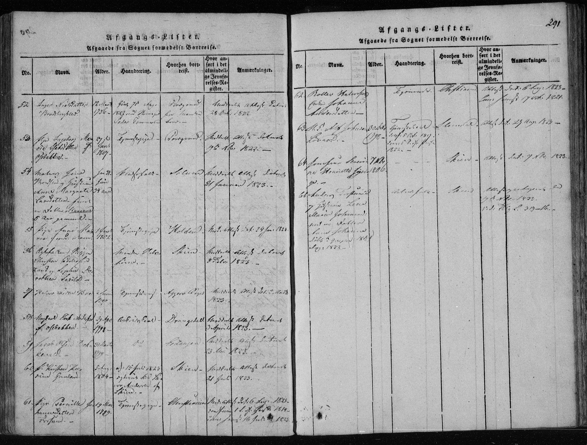 SAKO, Gjerpen kirkebøker, F/Fa/L0004: Ministerialbok nr. 4, 1814-1823, s. 291