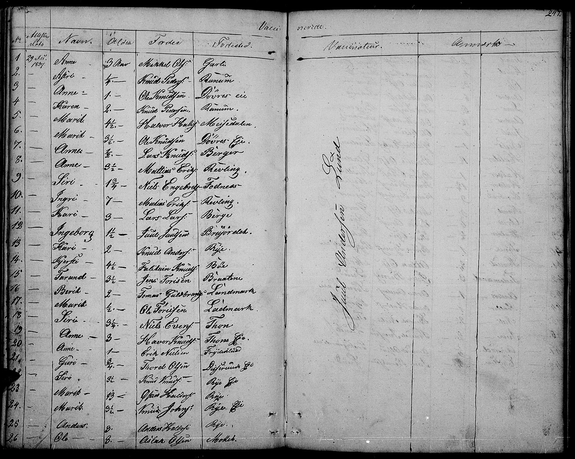 SAH, Nord-Aurdal prestekontor, Ministerialbok nr. 3, 1828-1841, s. 247