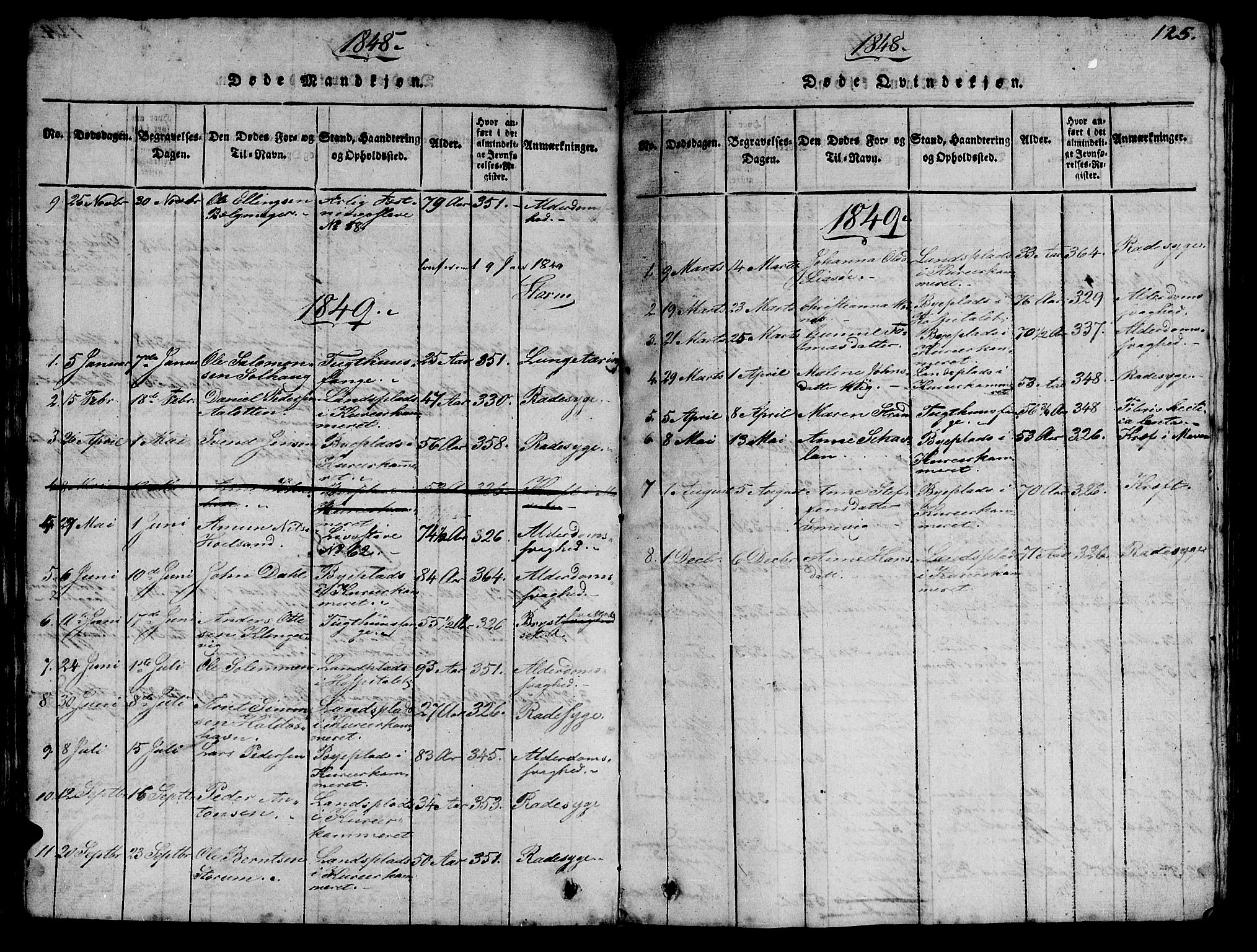 SAT, Ministerialprotokoller, klokkerbøker og fødselsregistre - Sør-Trøndelag, 623/L0478: Klokkerbok nr. 623C01, 1815-1873, s. 125