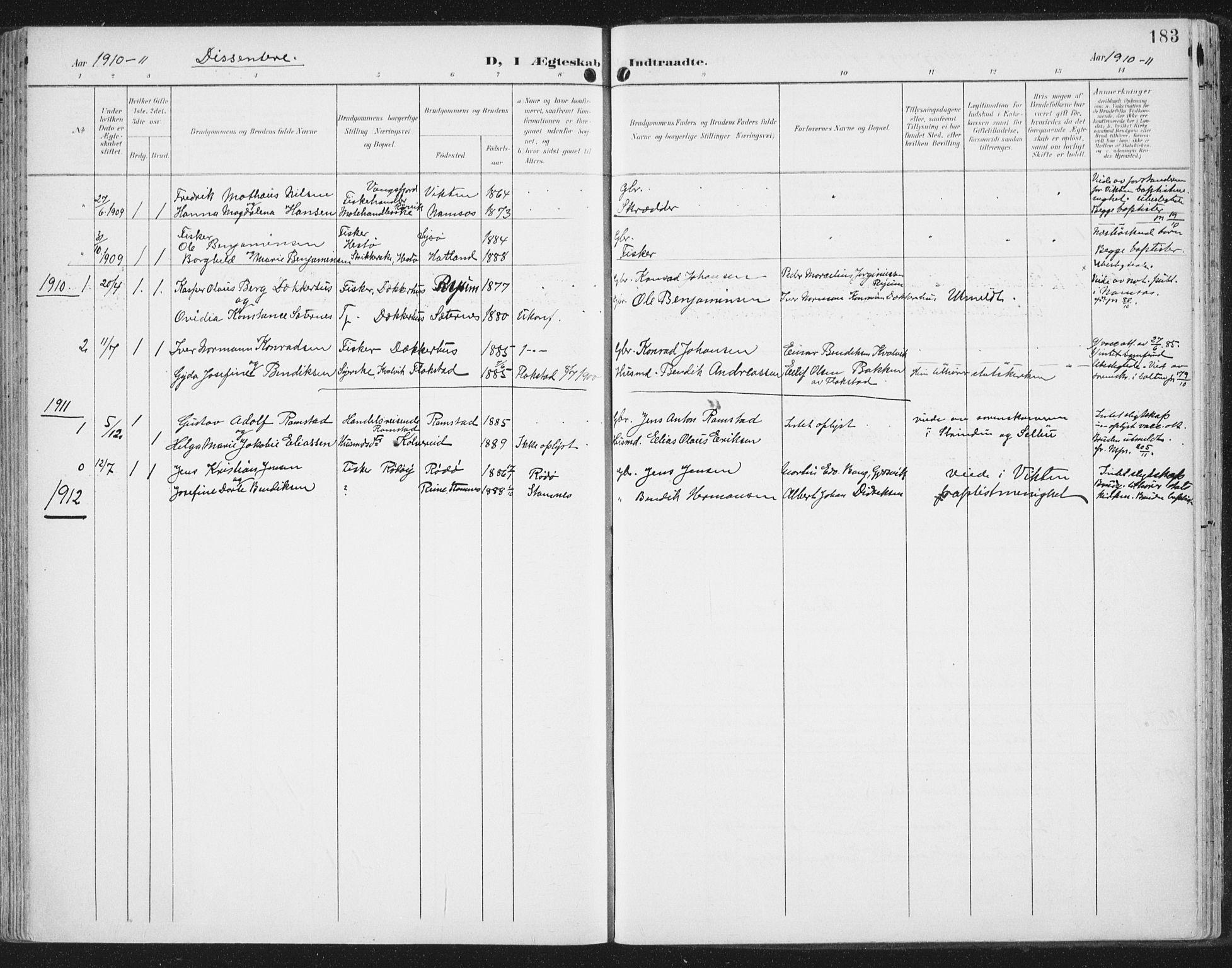 SAT, Ministerialprotokoller, klokkerbøker og fødselsregistre - Nord-Trøndelag, 786/L0688: Ministerialbok nr. 786A04, 1899-1912, s. 183