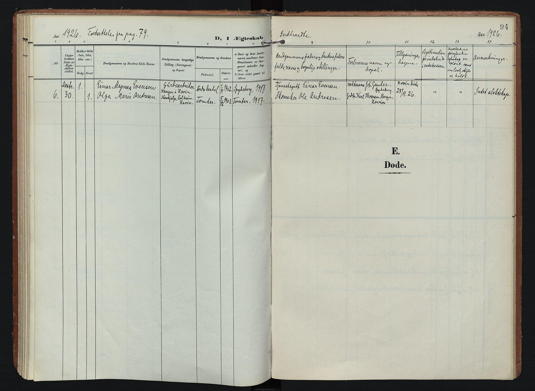 SAO, Spydeberg prestekontor Kirkebøker, F/Fb/L0002: Ministerialbok nr. II 2, 1908-1926, s. 94