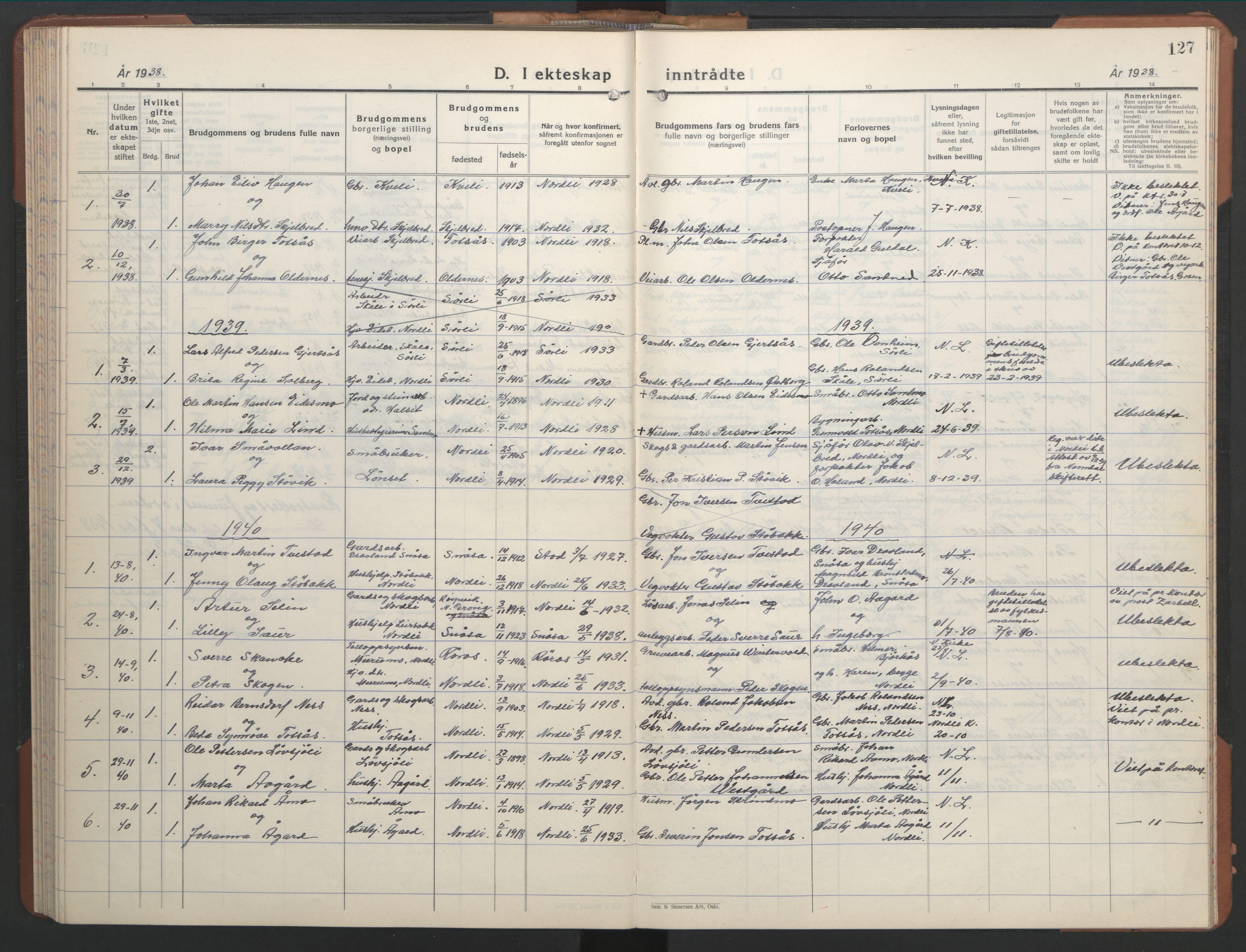 SAT, Ministerialprotokoller, klokkerbøker og fødselsregistre - Nord-Trøndelag, 755/L0500: Klokkerbok nr. 755C01, 1920-1962, s. 127
