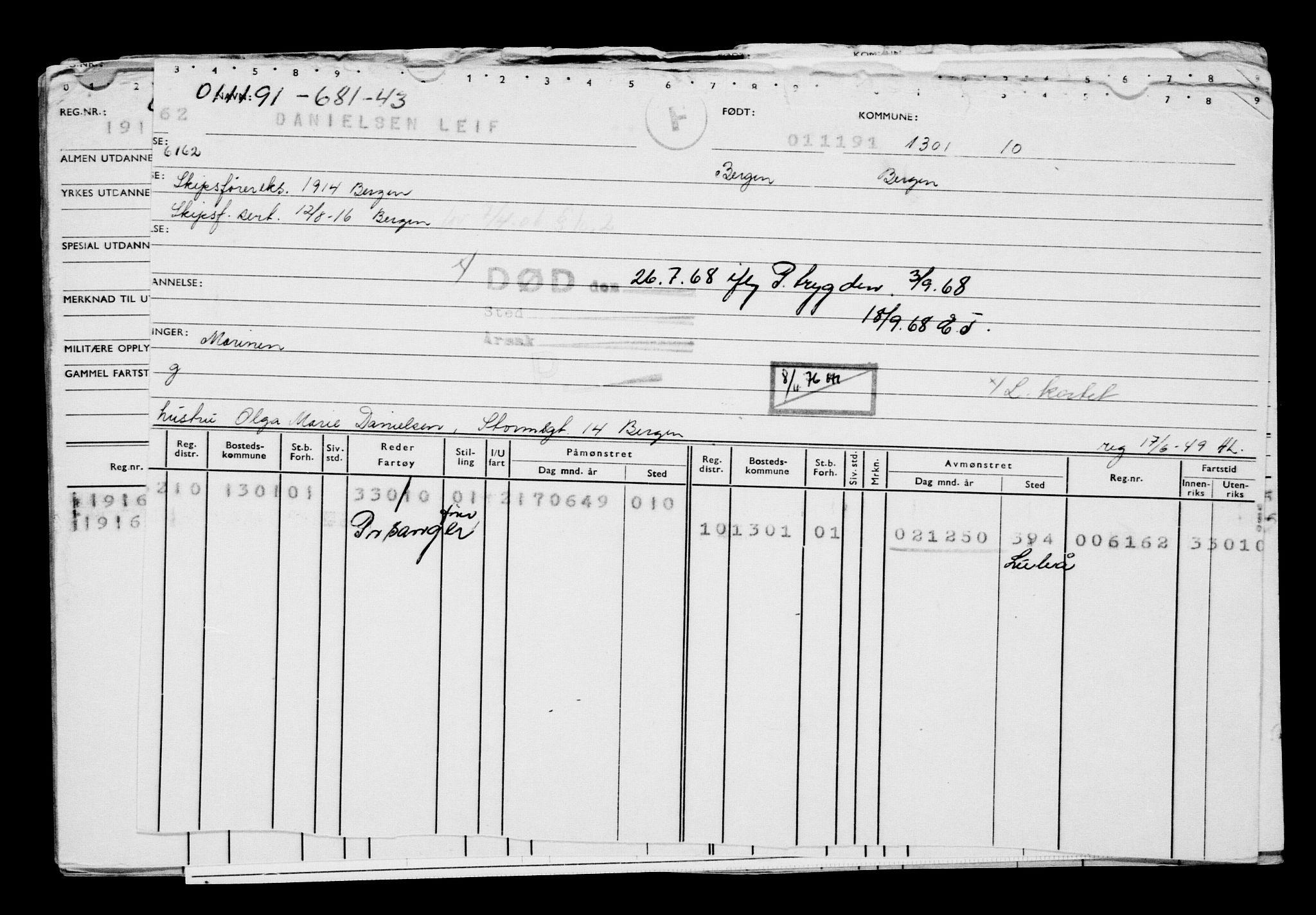 RA, Direktoratet for sjømenn, G/Gb/L0010: Hovedkort, 1891-1892, s. 226