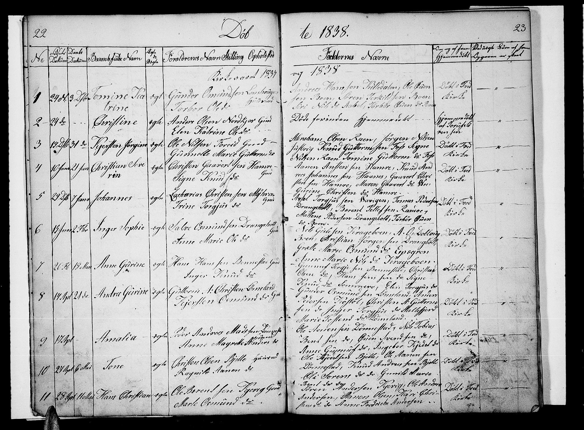 SAK, Tveit sokneprestkontor, F/Fb/L0002: Klokkerbok nr. B 2, 1835-1854, s. 22-23