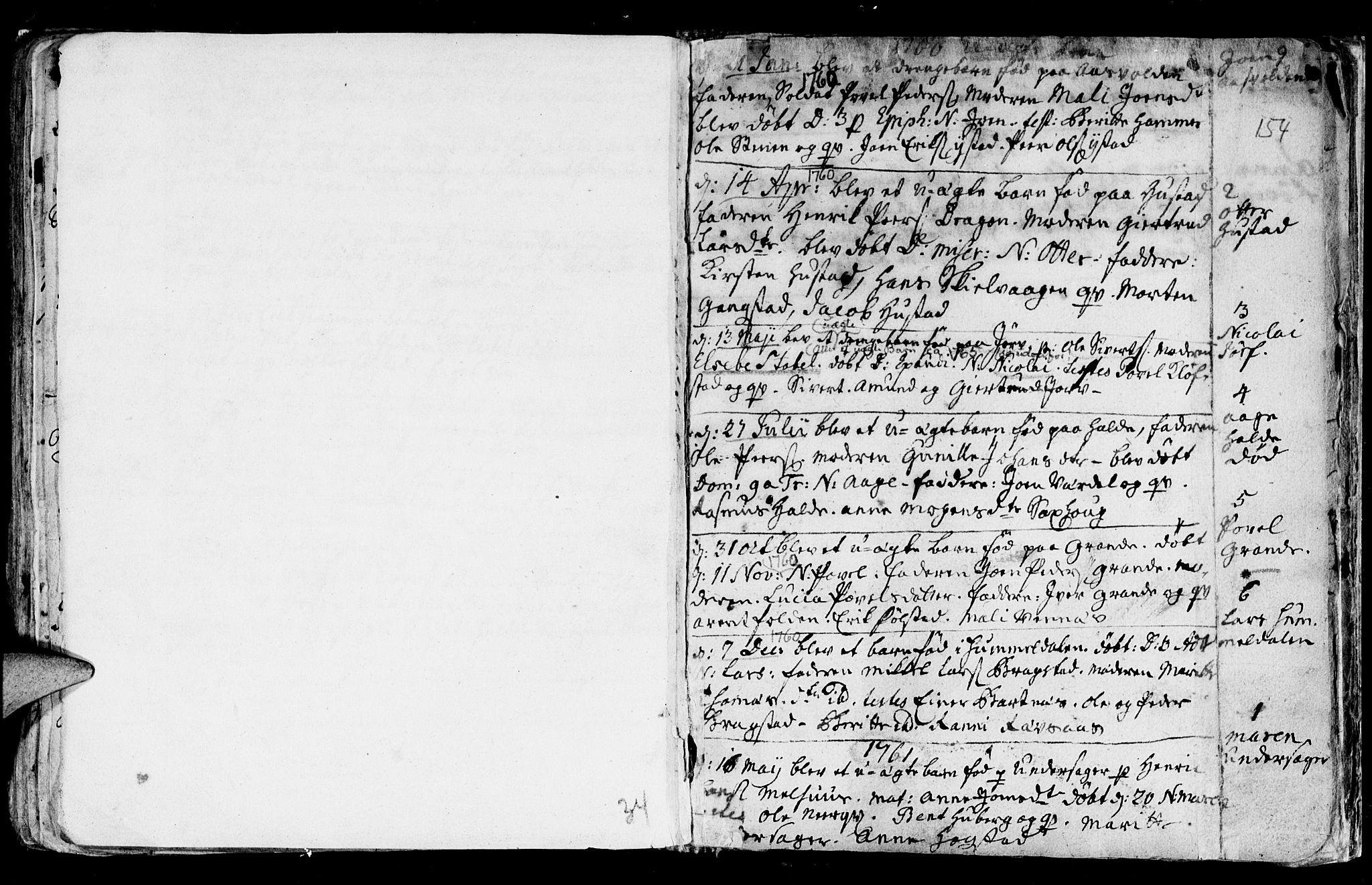 SAT, Ministerialprotokoller, klokkerbøker og fødselsregistre - Nord-Trøndelag, 730/L0272: Ministerialbok nr. 730A01, 1733-1764, s. 154