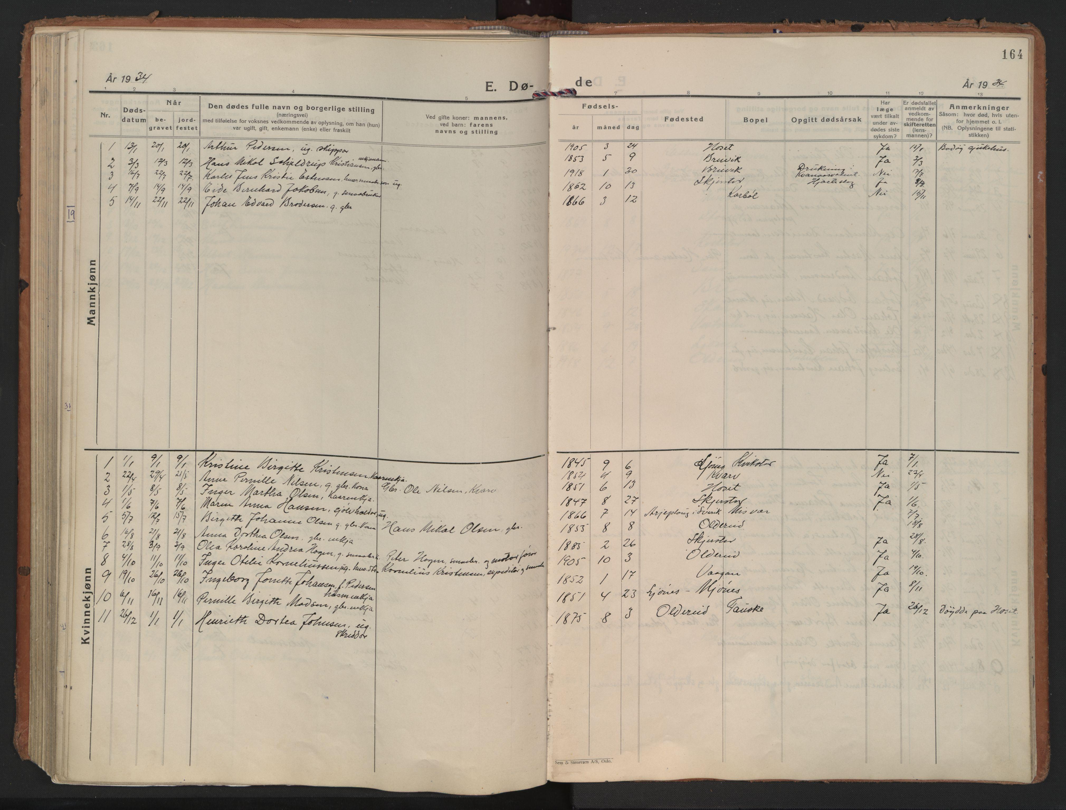 SAT, Ministerialprotokoller, klokkerbøker og fødselsregistre - Nordland, 852/L0749: Ministerialbok nr. 852A19, 1933-1951, s. 164
