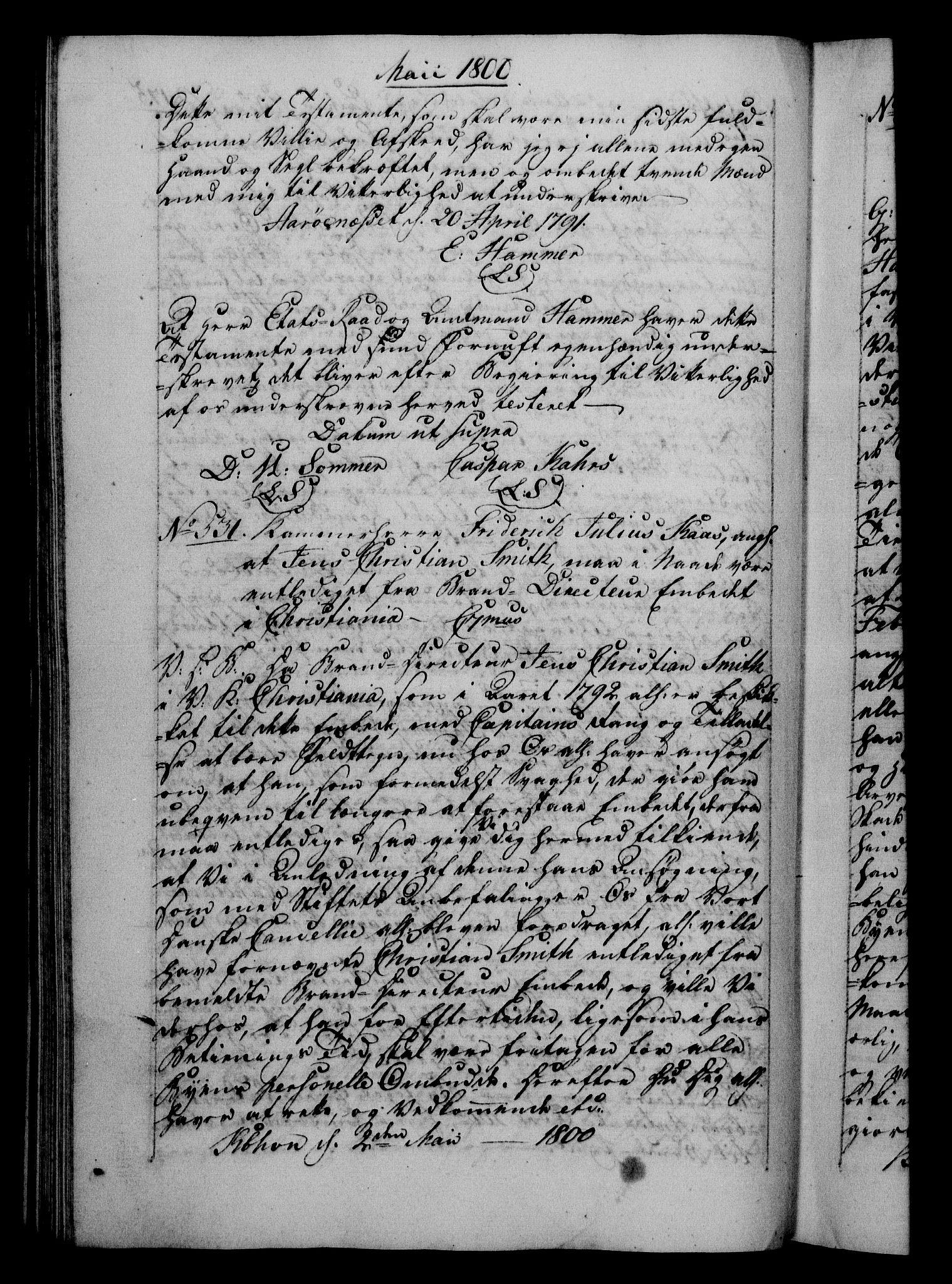 RA, Danske Kanselli 1800-1814, H/Hf/Hfb/Hfba/L0001: Registranter, 1800-1801, s. 175b