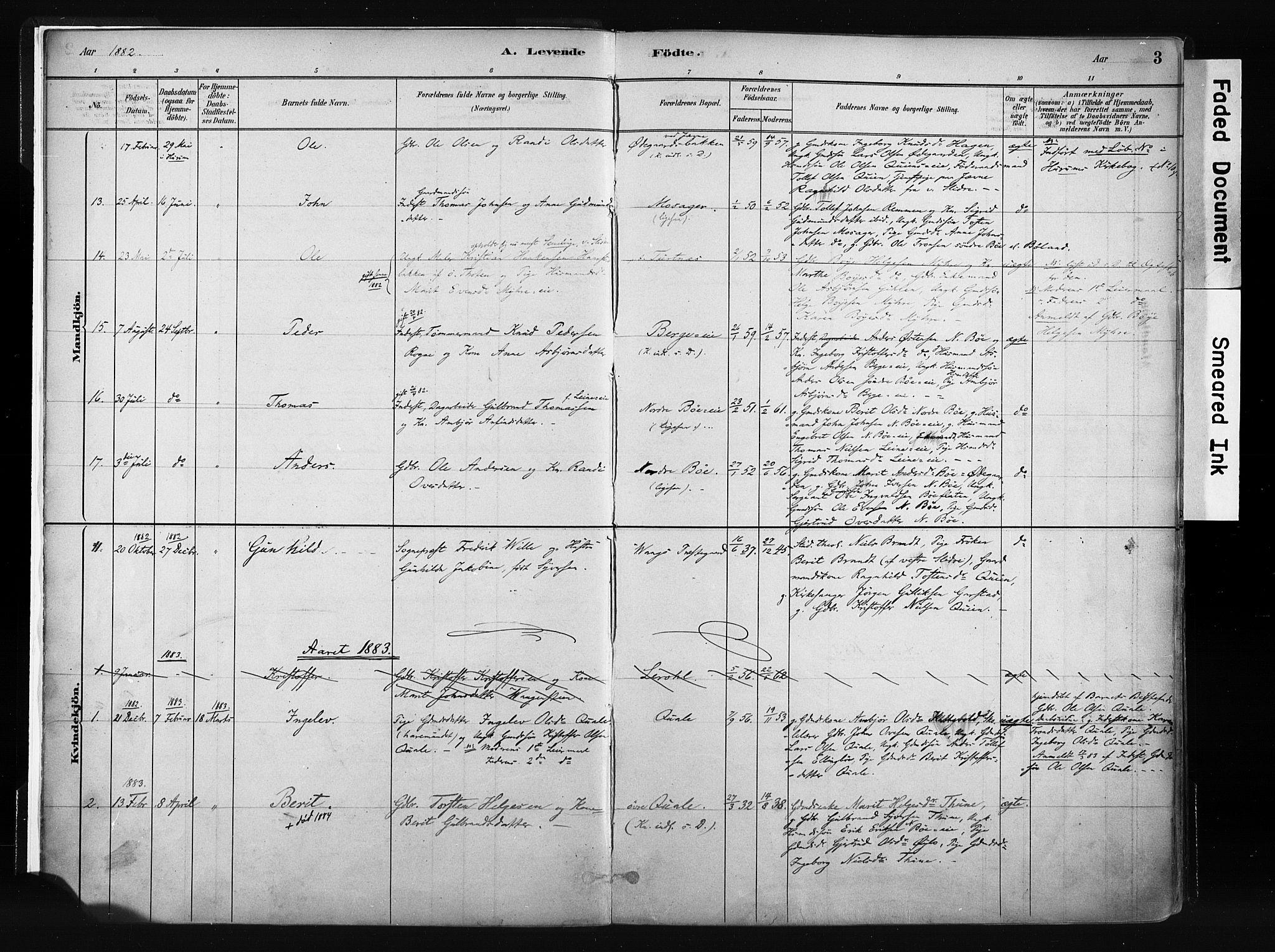 SAH, Vang prestekontor, Valdres, Ministerialbok nr. 8, 1882-1910, s. 3