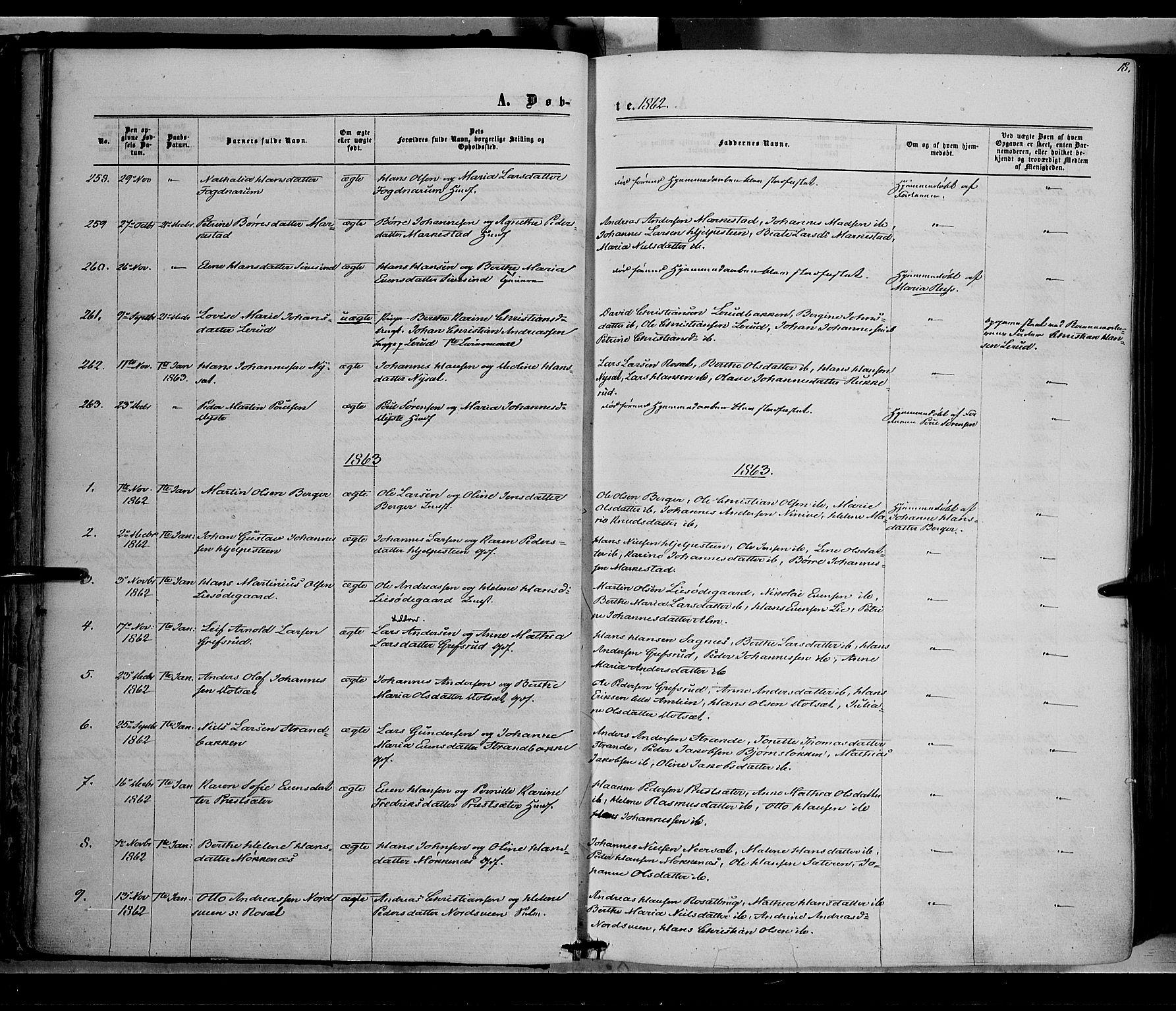 SAH, Vestre Toten prestekontor, H/Ha/Haa/L0007: Ministerialbok nr. 7, 1862-1869, s. 18