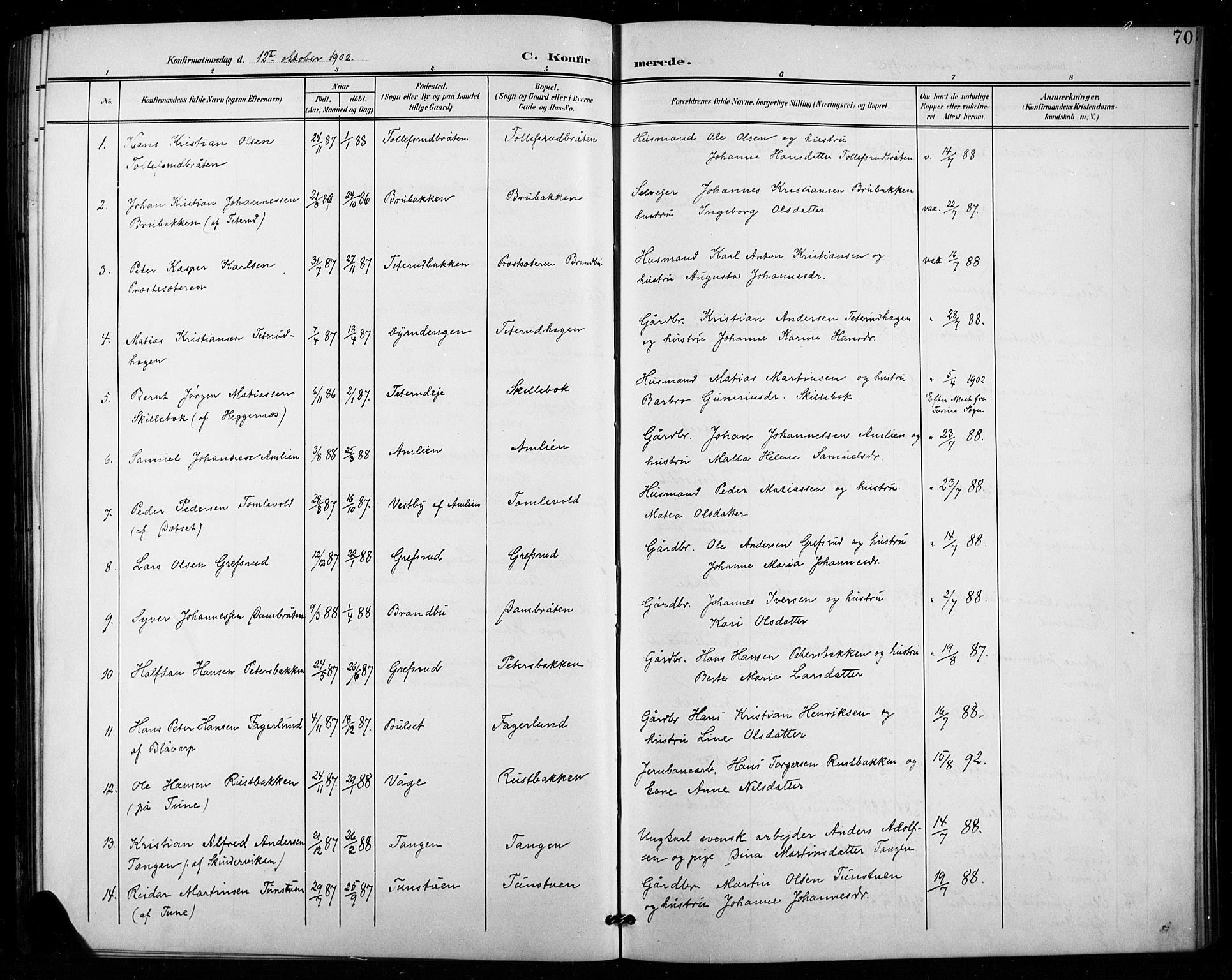 SAH, Vestre Toten prestekontor, H/Ha/Hab/L0016: Klokkerbok nr. 16, 1901-1915, s. 70