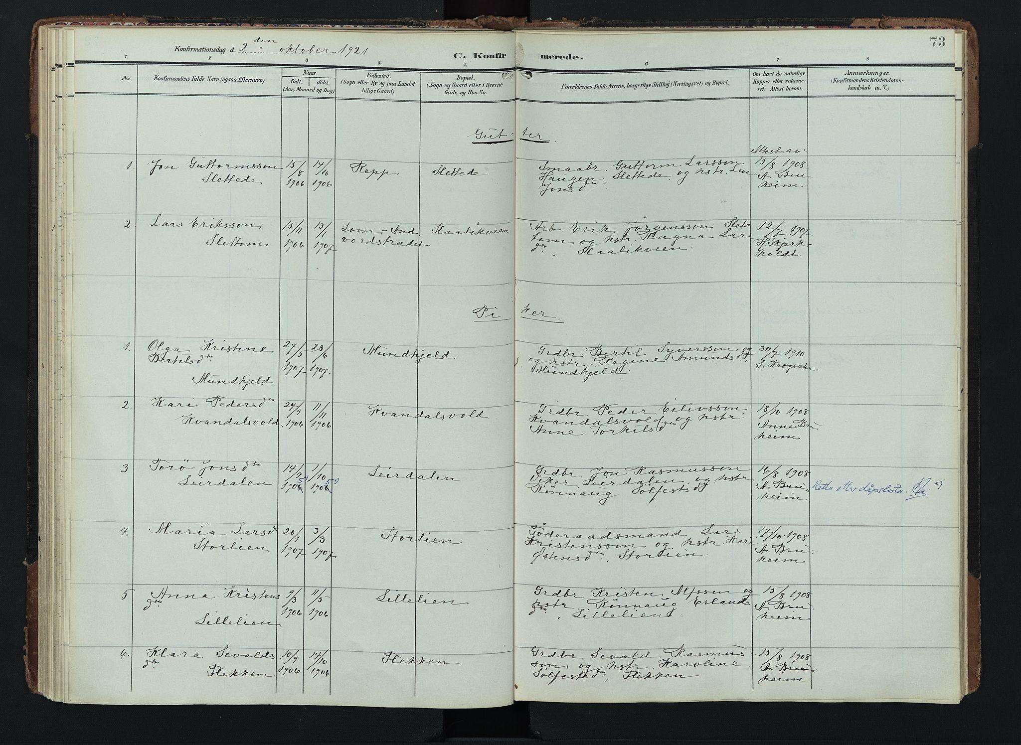 SAH, Lom prestekontor, K/L0012: Ministerialbok nr. 12, 1904-1928, s. 73