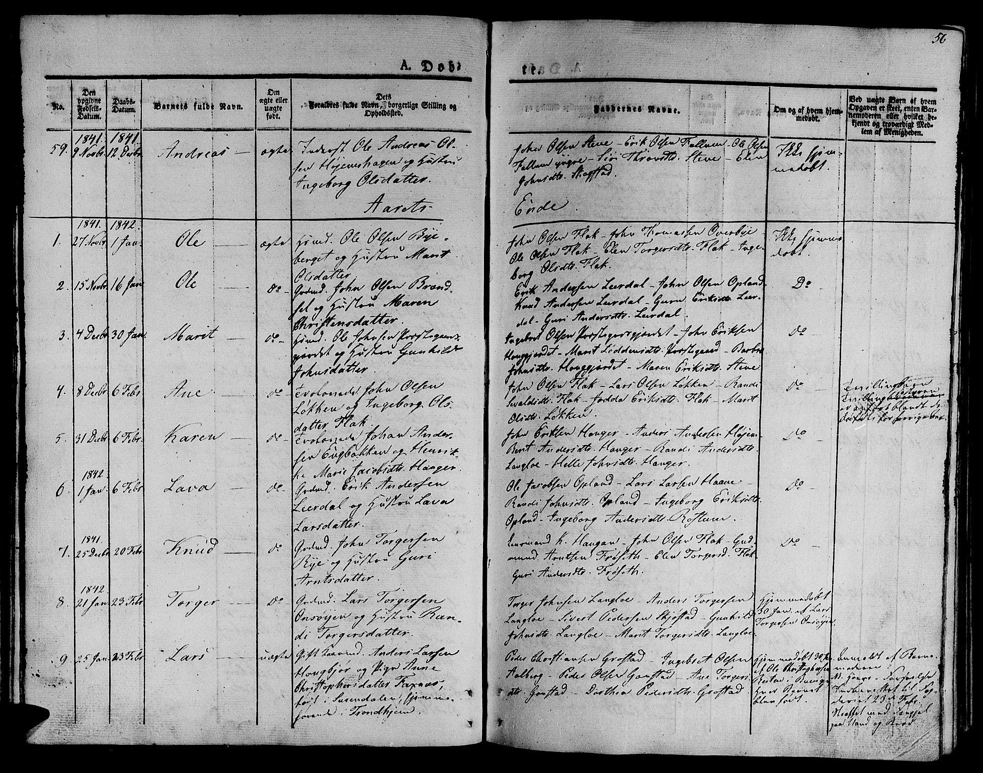 SAT, Ministerialprotokoller, klokkerbøker og fødselsregistre - Sør-Trøndelag, 612/L0374: Ministerialbok nr. 612A07 /1, 1829-1845, s. 56