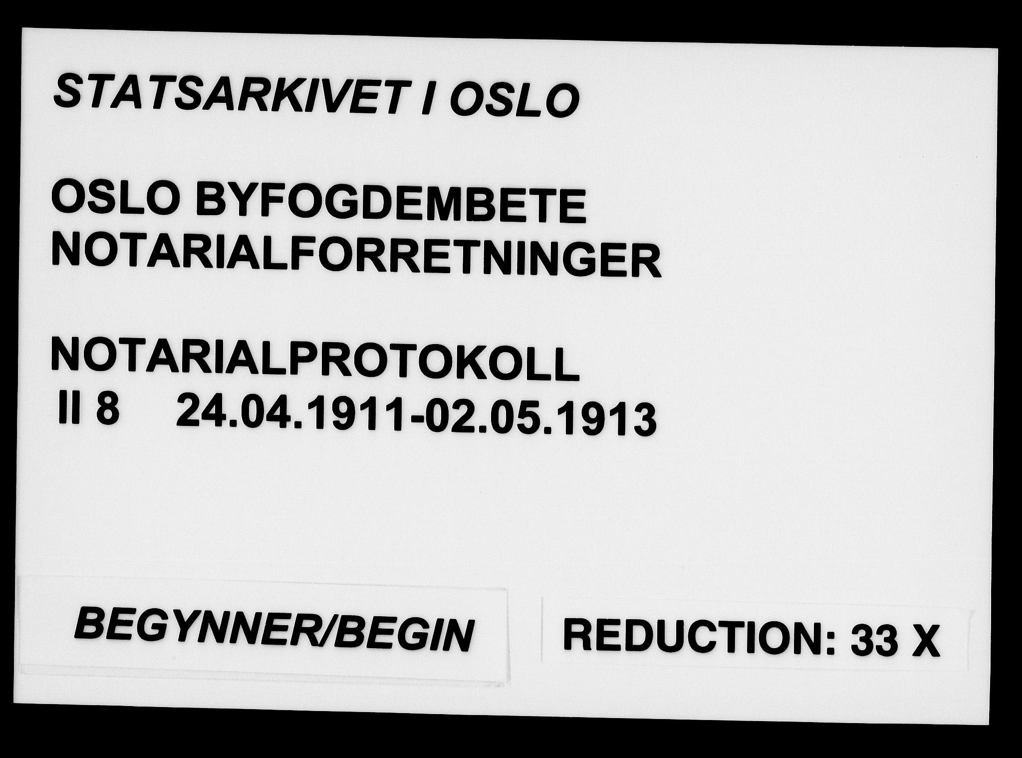 SAO, Oslo byfogd avd. I, L/Lb/Lbb/L0008: Notarialprotokoll, rekke II: Vigsler, 1911-1913, s. upaginert