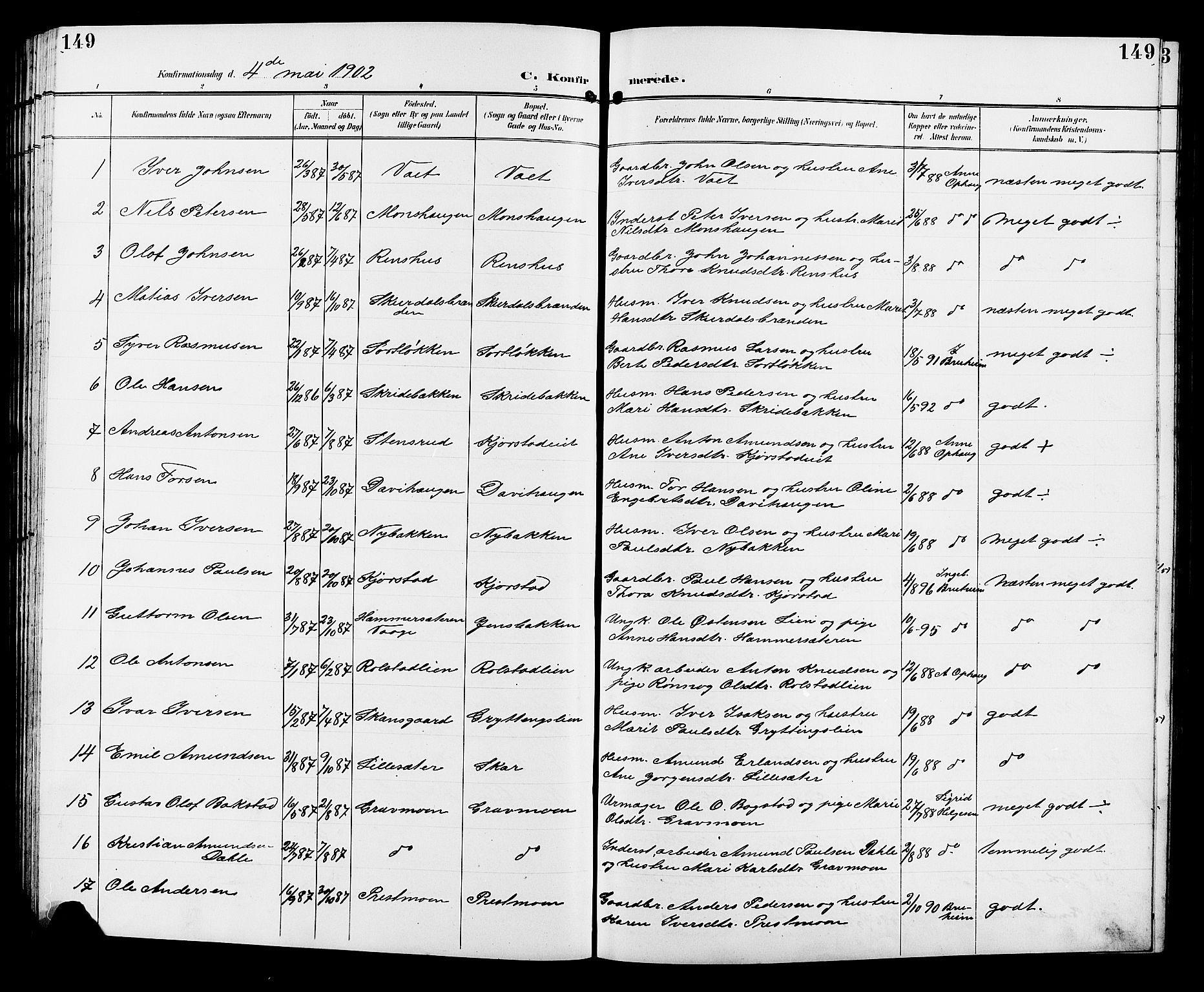 SAH, Sør-Fron prestekontor, H/Ha/Hab/L0004: Klokkerbok nr. 4, 1896-1911, s. 149