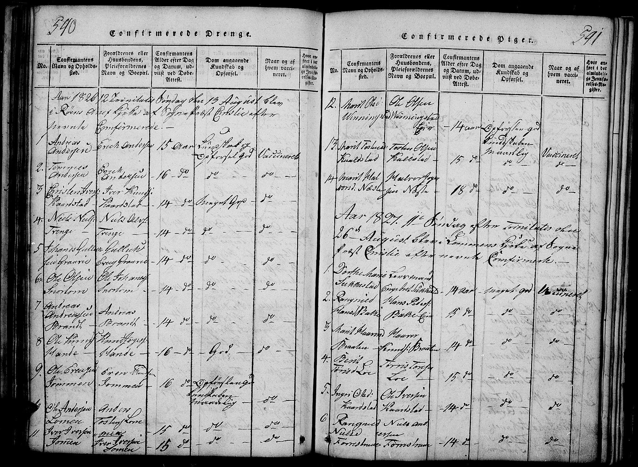 SAH, Slidre prestekontor, Ministerialbok nr. 2, 1814-1830, s. 540-541