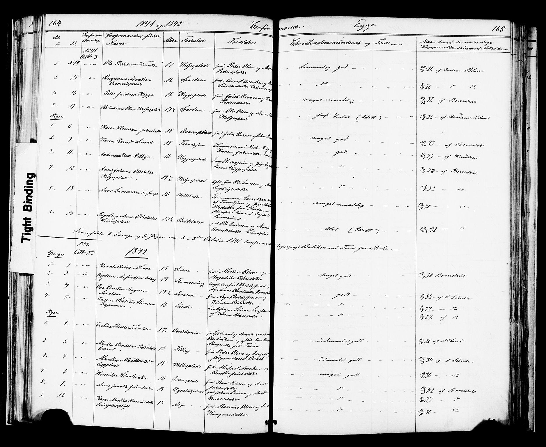 SAT, Ministerialprotokoller, klokkerbøker og fødselsregistre - Nord-Trøndelag, 739/L0367: Ministerialbok nr. 739A01 /3, 1838-1868, s. 164-165