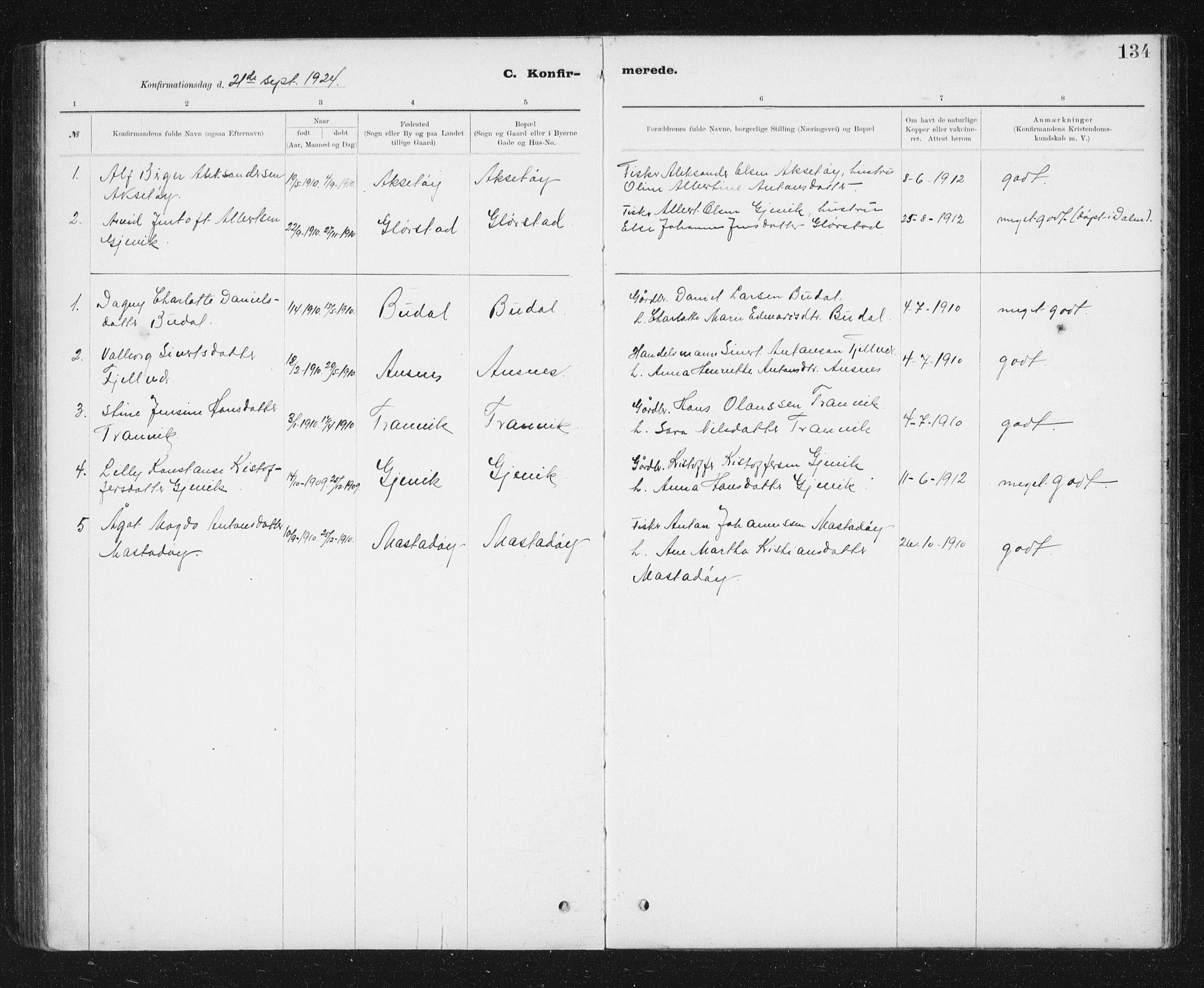 SAT, Ministerialprotokoller, klokkerbøker og fødselsregistre - Sør-Trøndelag, 637/L0563: Klokkerbok nr. 637C04, 1899-1940, s. 134