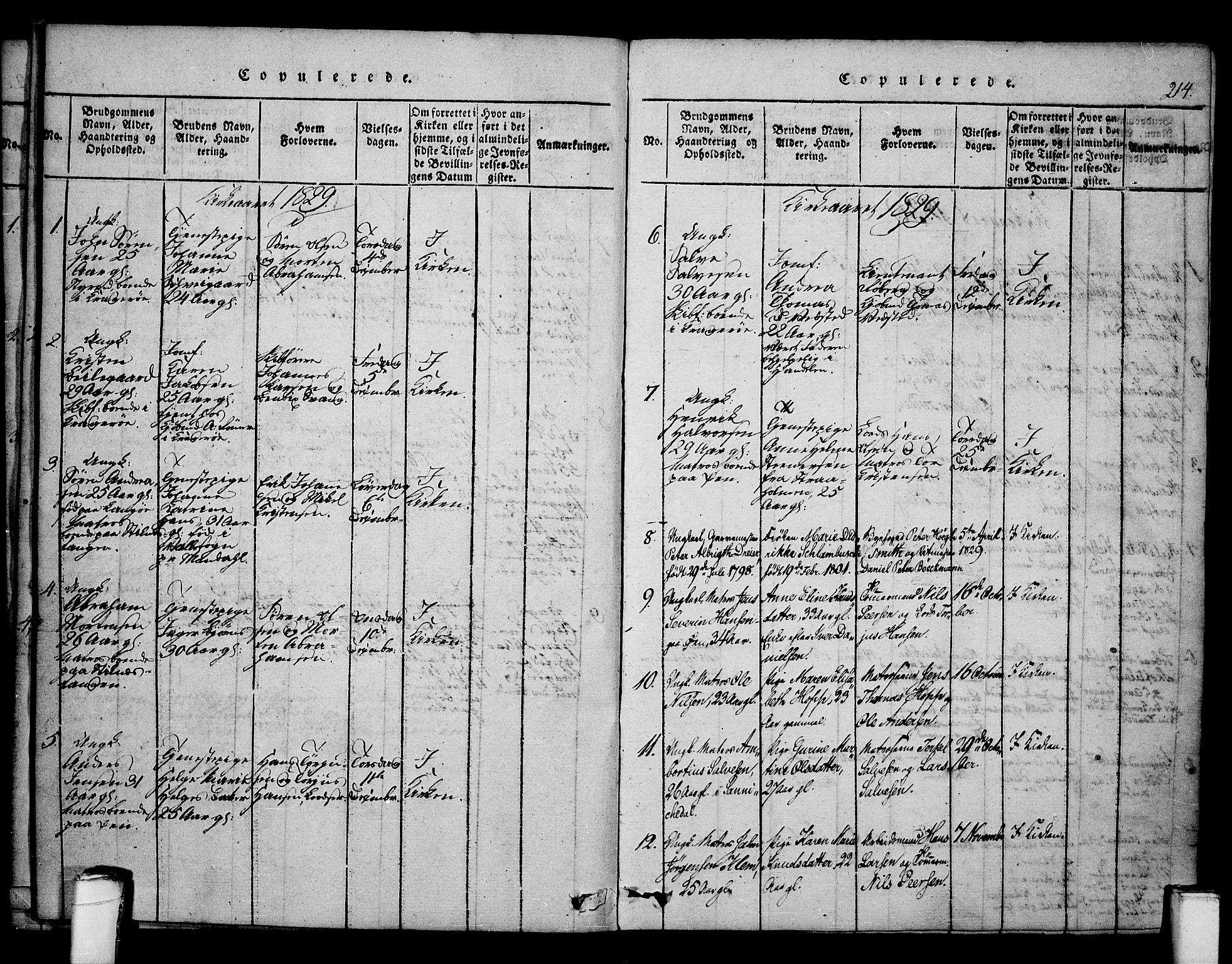 SAKO, Kragerø kirkebøker, F/Fa/L0004: Ministerialbok nr. 4, 1814-1831, s. 214