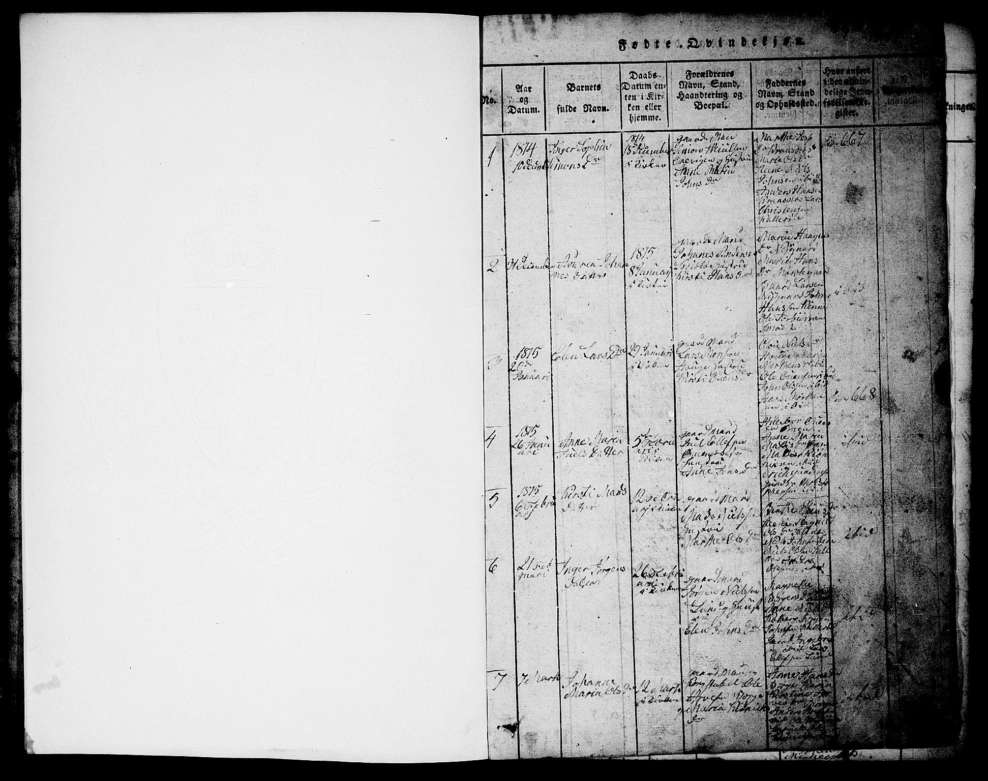 SAO, Onsøy prestekontor Kirkebøker, G/Ga/L0001: Klokkerbok nr. I 1, 1814-1840, s. 0-1