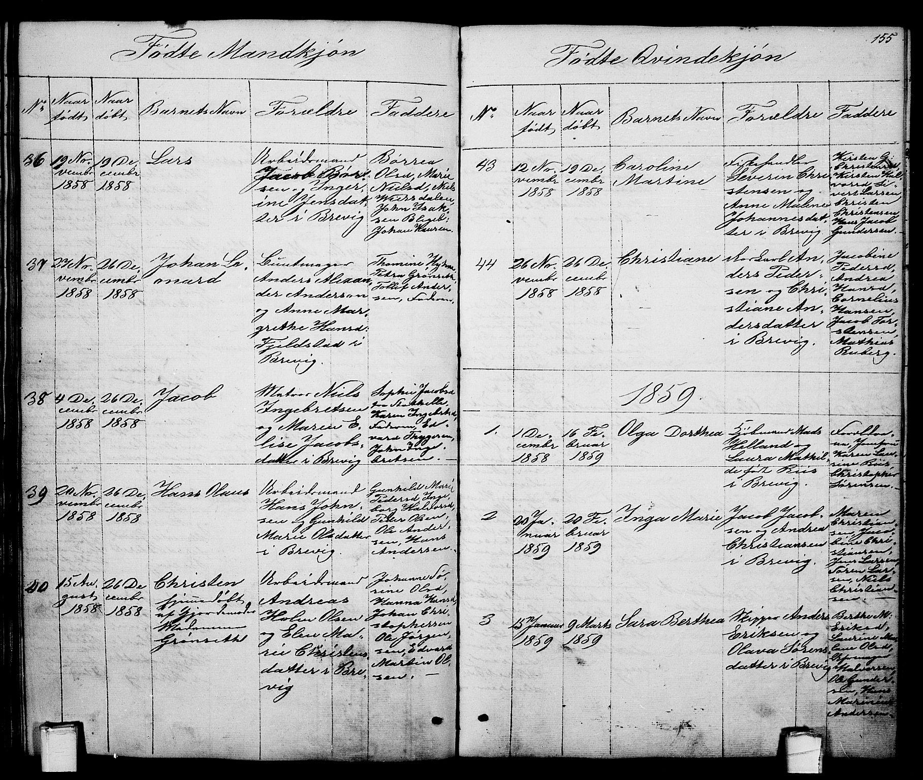 SAKO, Brevik kirkebøker, G/Ga/L0002: Klokkerbok nr. 2, 1846-1865, s. 155