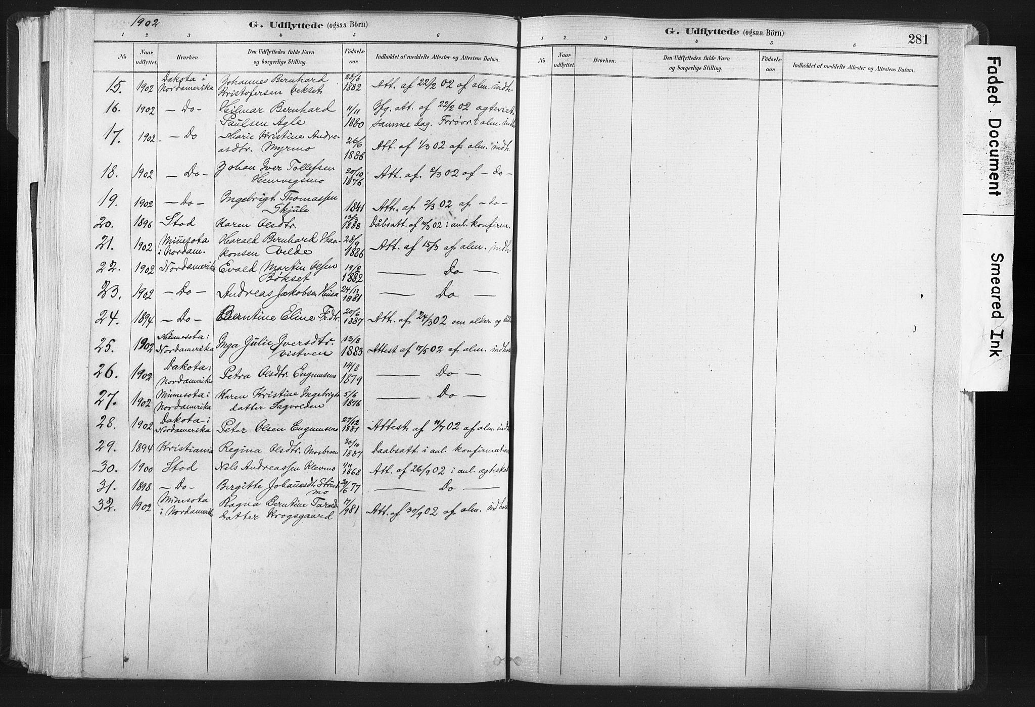 SAT, Ministerialprotokoller, klokkerbøker og fødselsregistre - Nord-Trøndelag, 749/L0474: Ministerialbok nr. 749A08, 1887-1903, s. 281