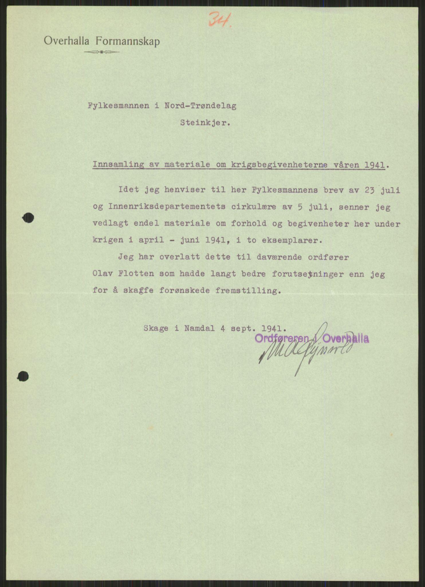 RA, Forsvaret, Forsvarets krigshistoriske avdeling, Y/Ya/L0016: II-C-11-31 - Fylkesmenn.  Rapporter om krigsbegivenhetene 1940., 1940, s. 535
