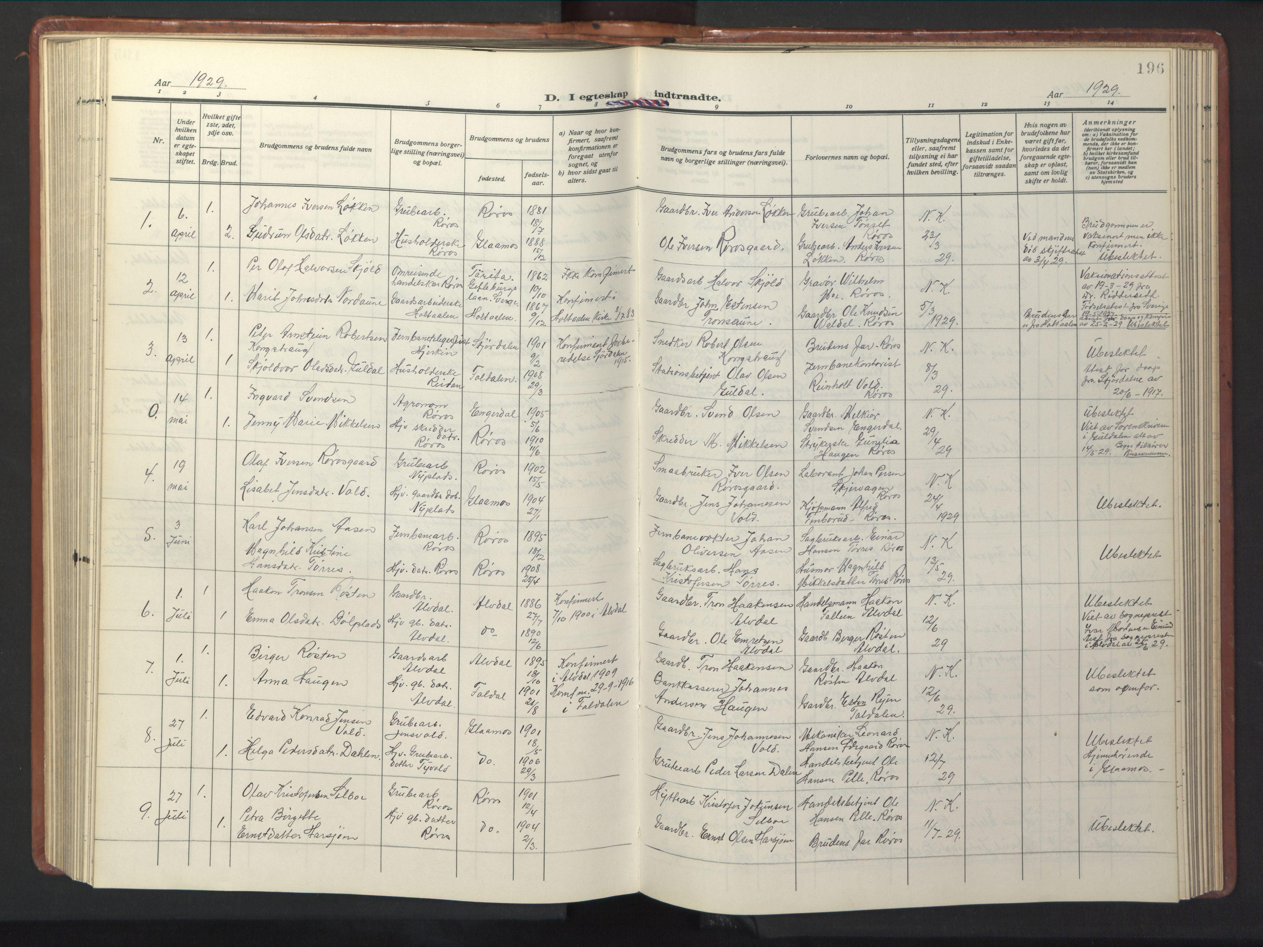 SAT, Ministerialprotokoller, klokkerbøker og fødselsregistre - Sør-Trøndelag, 681/L0943: Klokkerbok nr. 681C07, 1926-1954, s. 196
