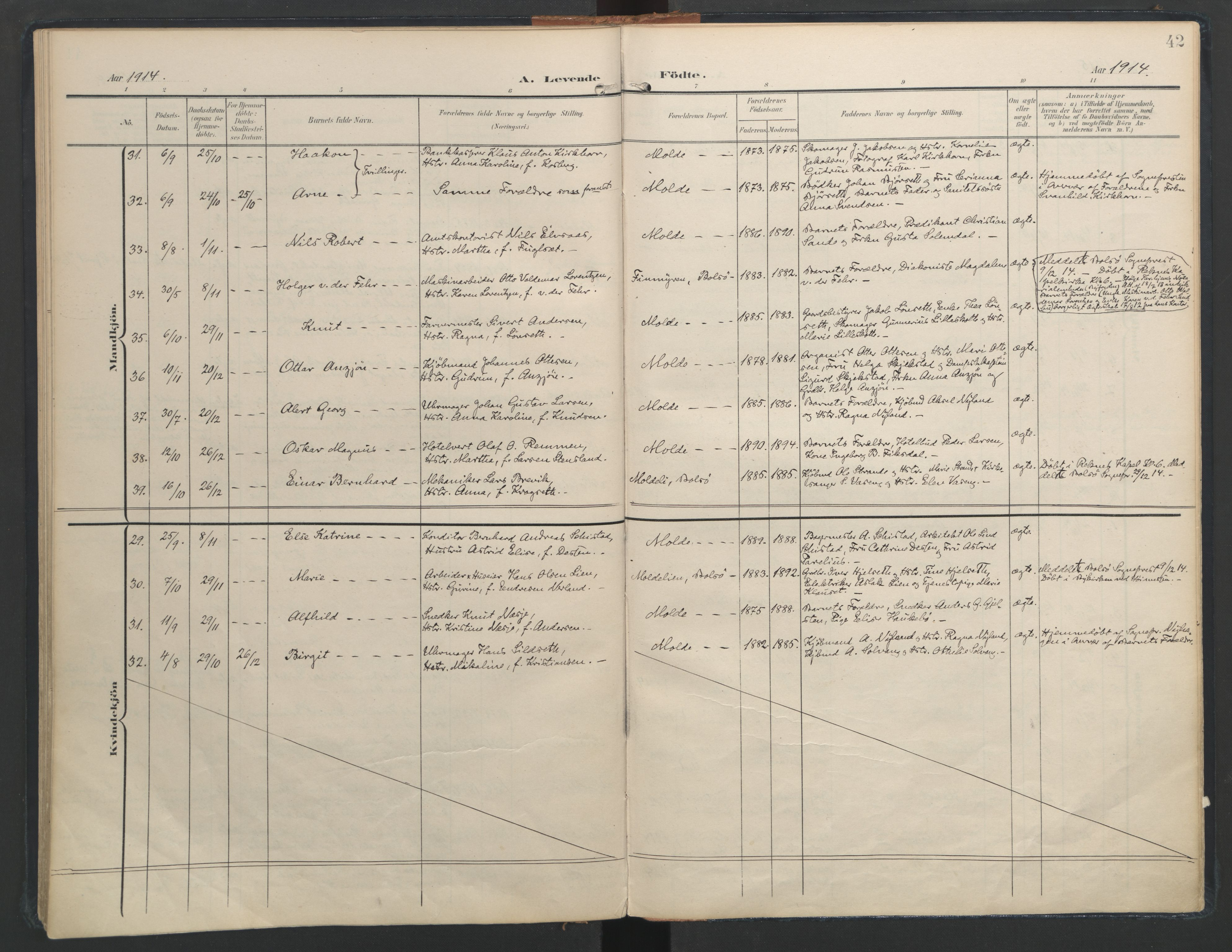 SAT, Ministerialprotokoller, klokkerbøker og fødselsregistre - Møre og Romsdal, 558/L0693: Ministerialbok nr. 558A07, 1903-1917, s. 42