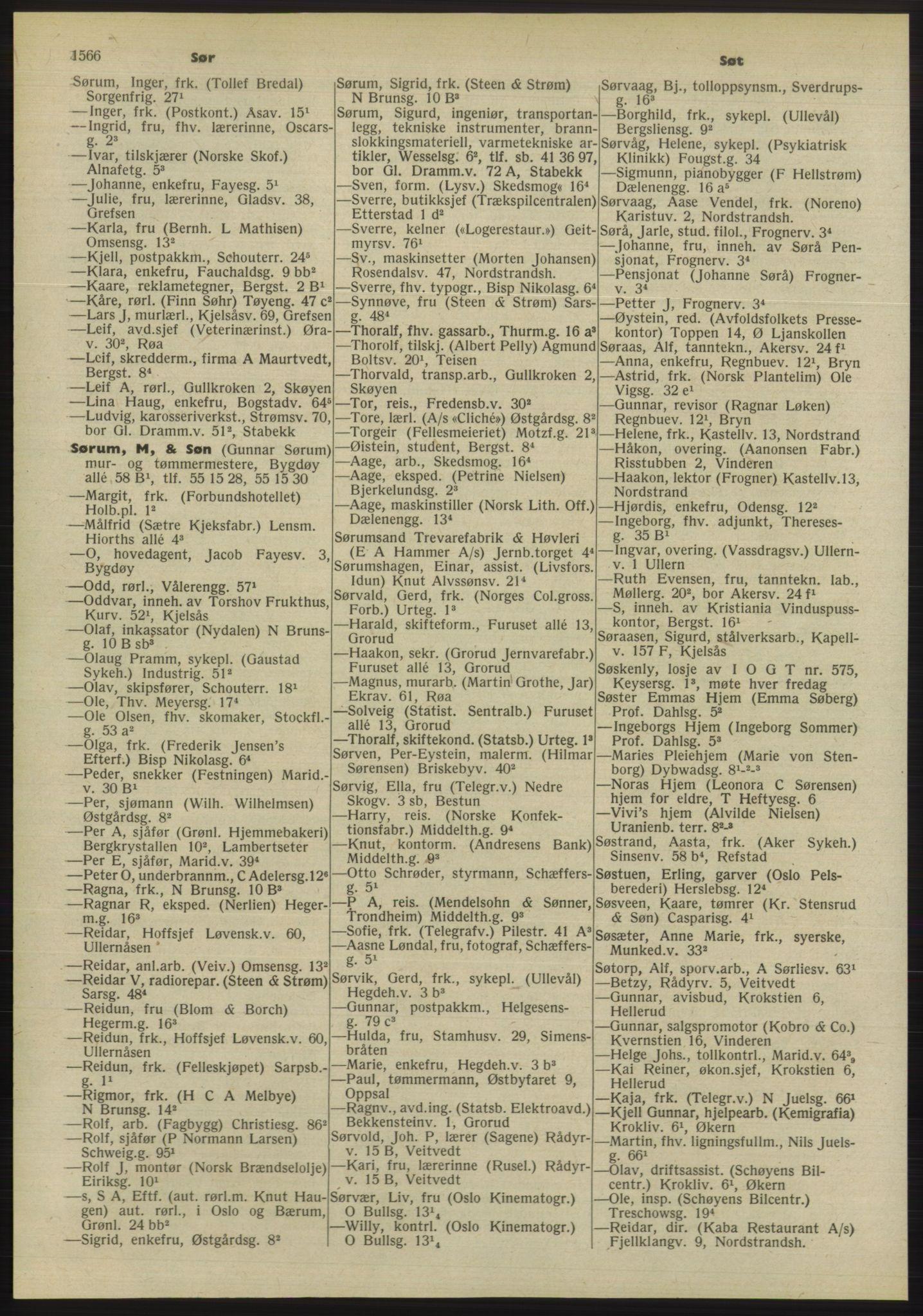 PUBL, Kristiania/Oslo adressebok, 1955, s. 1566