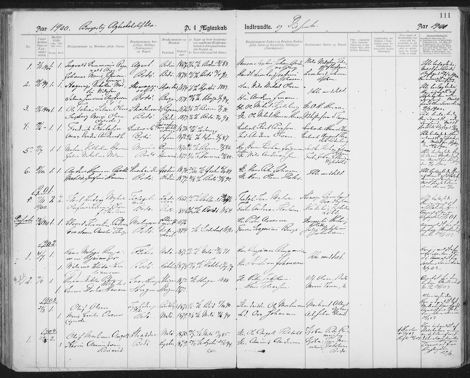 SAT, Ministerialprotokoller, klokkerbøker og fødselsregistre - Nordland, 801/L0012: Ministerialbok nr. 801A12, 1900-1916, s. 111