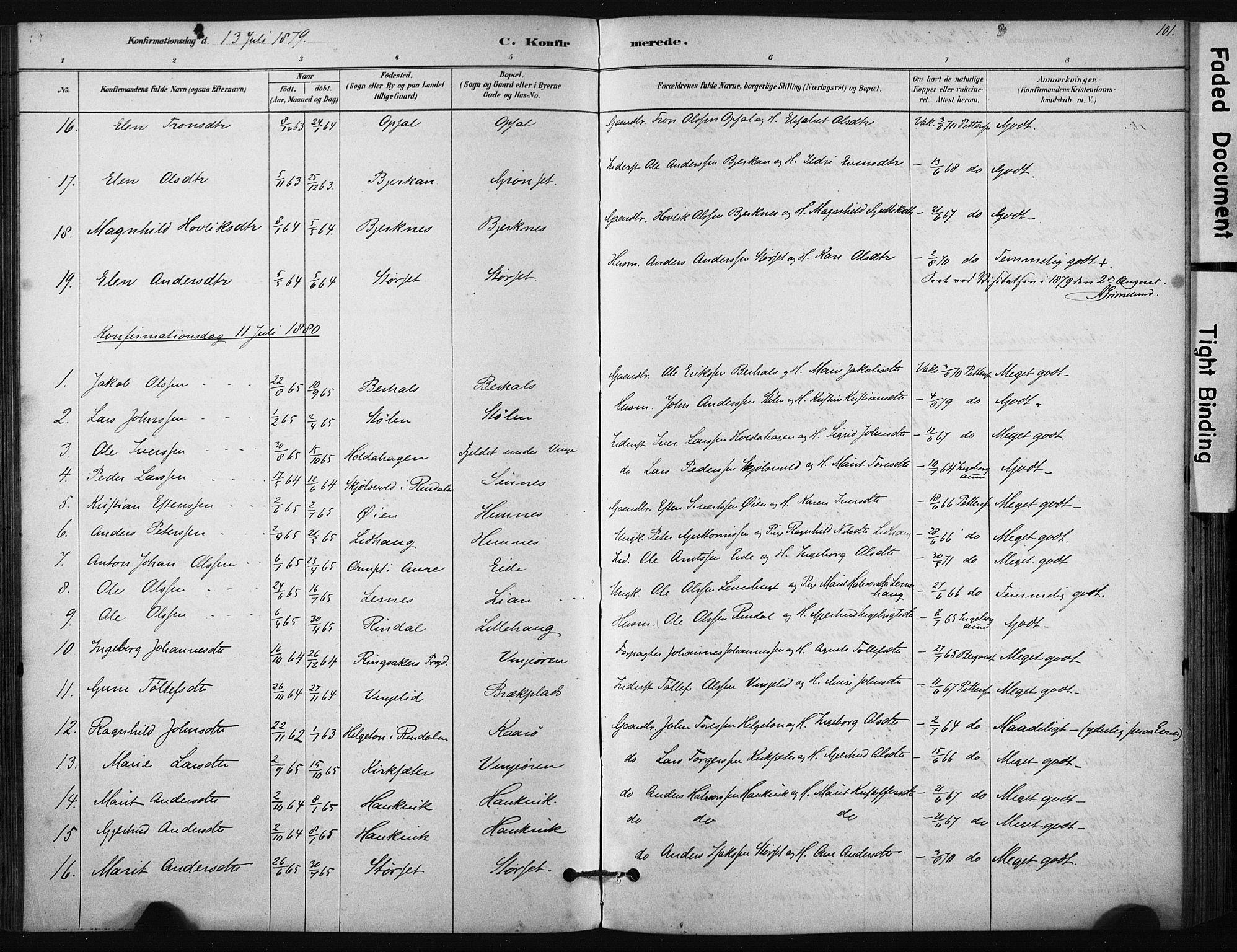 SAT, Ministerialprotokoller, klokkerbøker og fødselsregistre - Sør-Trøndelag, 631/L0512: Ministerialbok nr. 631A01, 1879-1912, s. 101