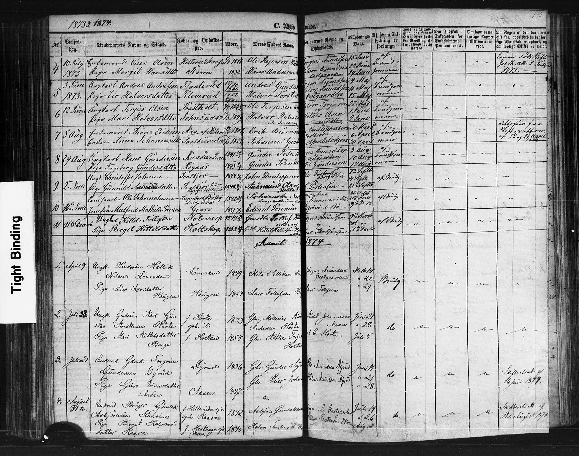SAKO, Sauherad kirkebøker, F/Fb/L0001: Ministerialbok nr. II 1, 1851-1877, s. 135