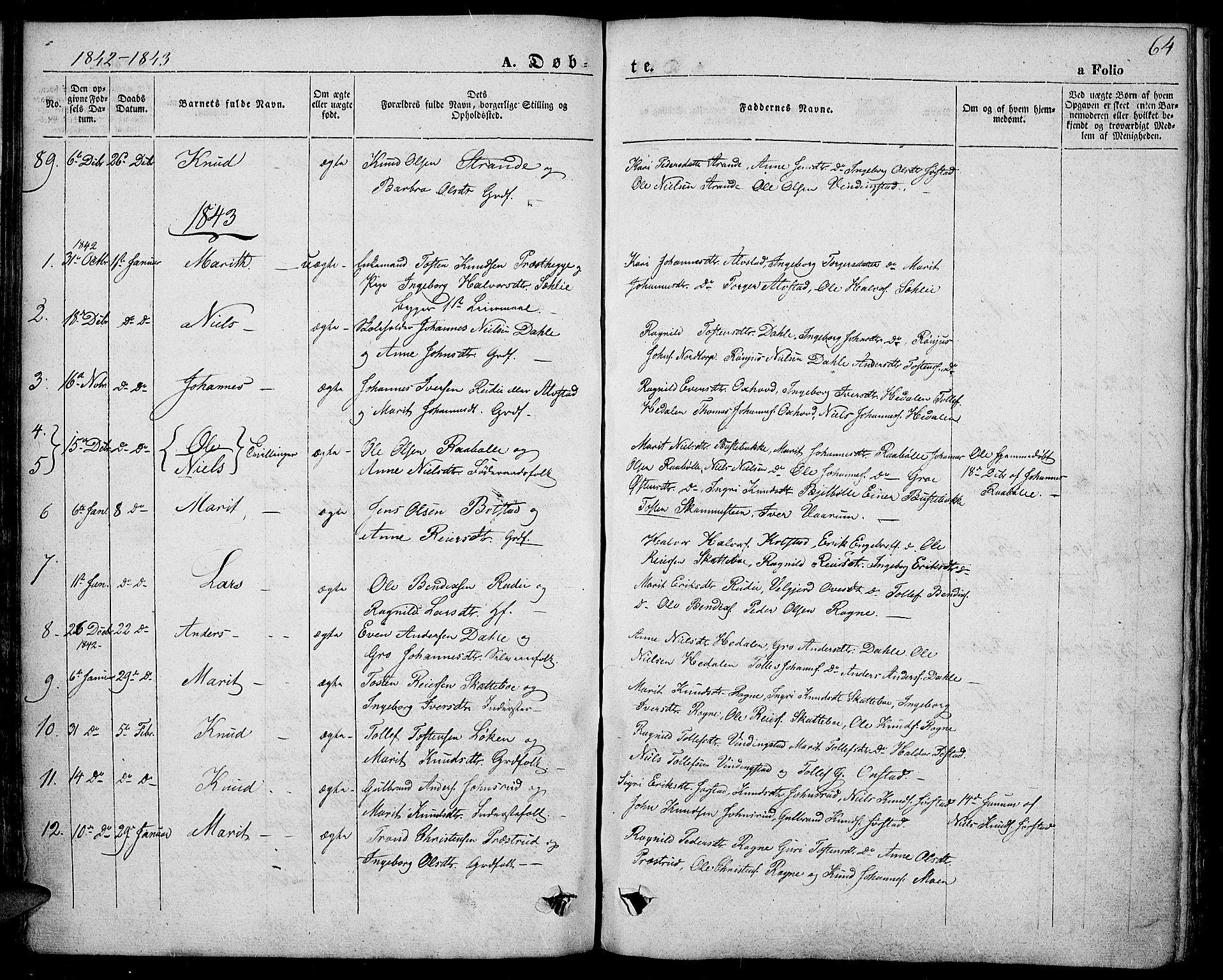 SAH, Slidre prestekontor, Ministerialbok nr. 4, 1831-1848, s. 64