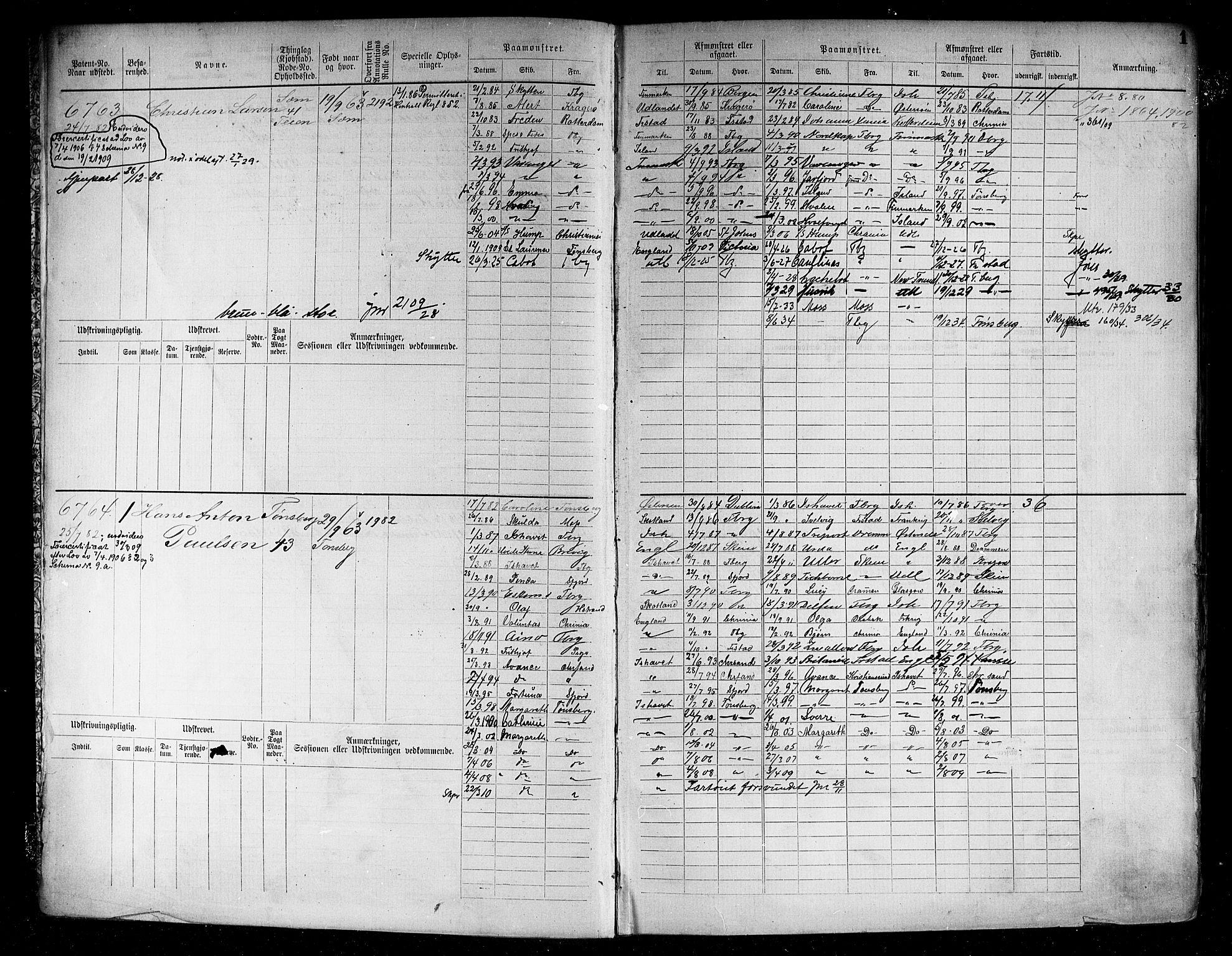 SAKO, Tønsberg innrulleringskontor, F/Fc/Fcb/L0007: Hovedrulle Patent nr. 6761-7906, 1882-1889, s. 5