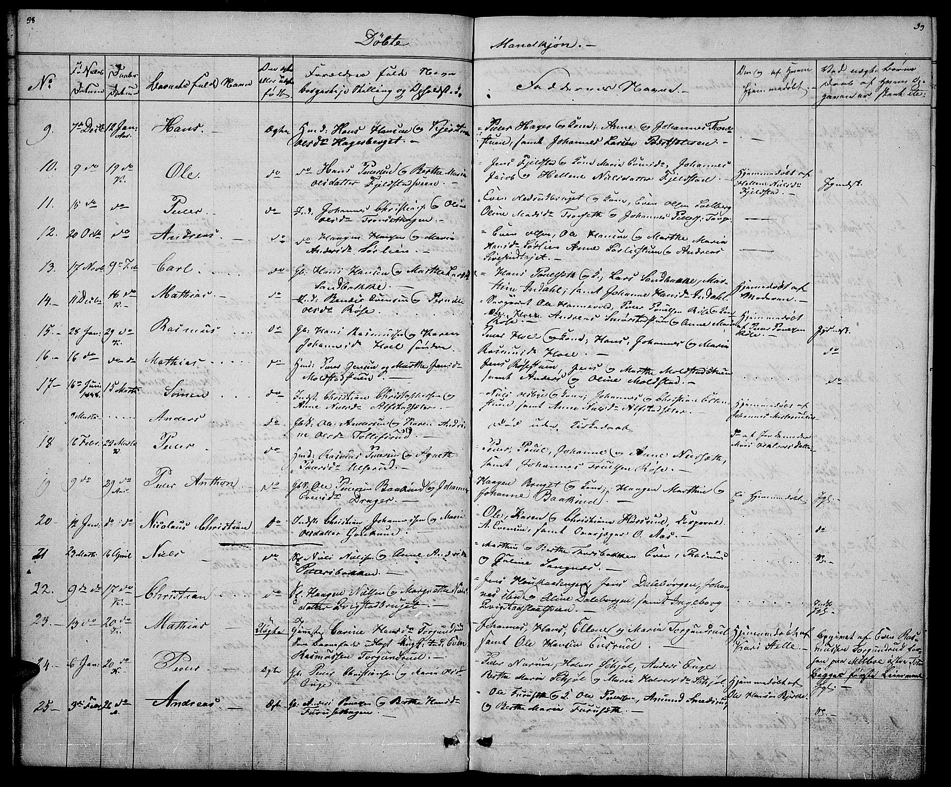 SAH, Vestre Toten prestekontor, Klokkerbok nr. 2, 1836-1848, s. 38-39