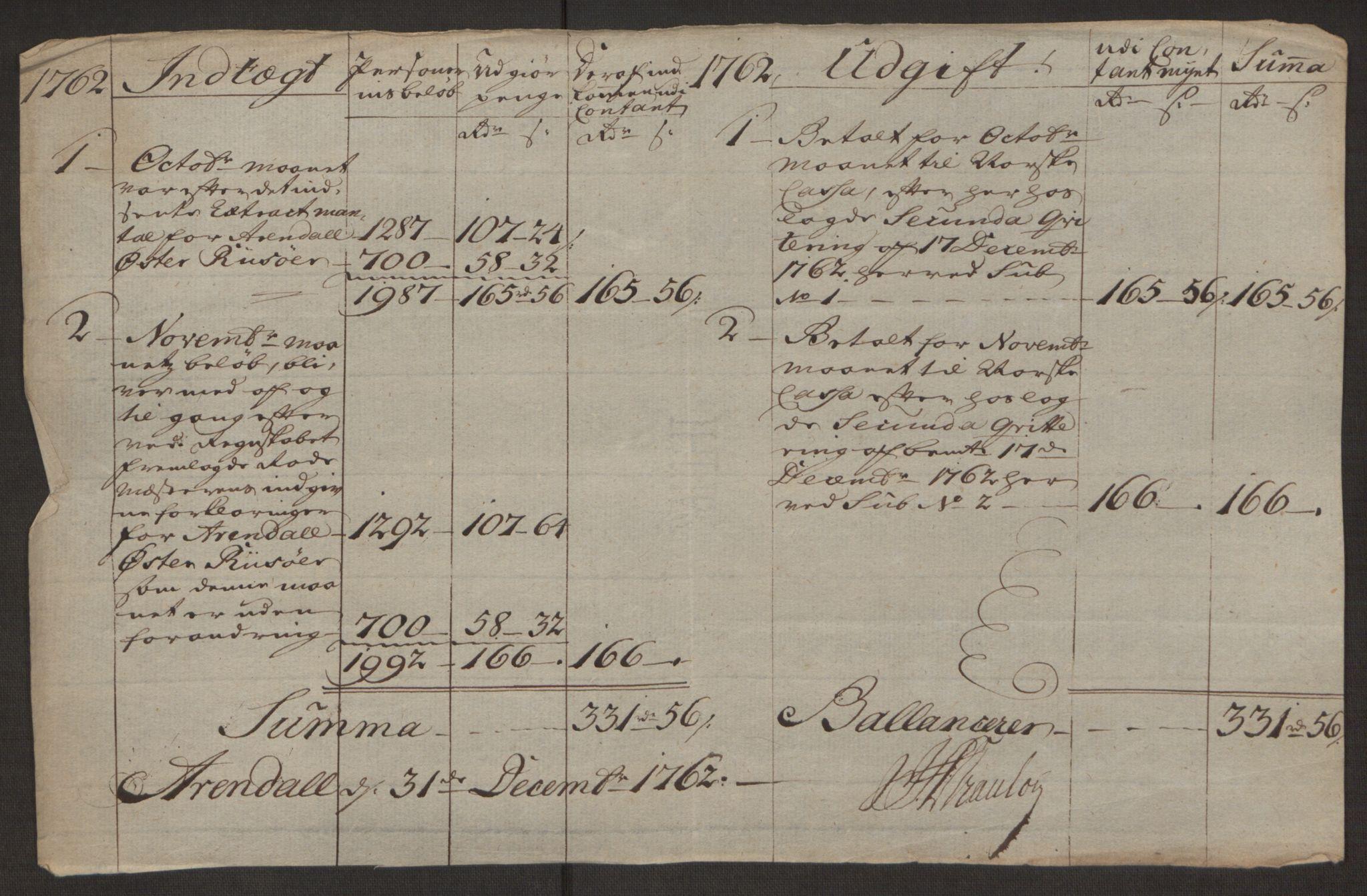 RA, Rentekammeret inntil 1814, Reviderte regnskaper, Byregnskaper, R/Rl/L0230: [L4] Kontribusjonsregnskap, 1762-1764, s. 90