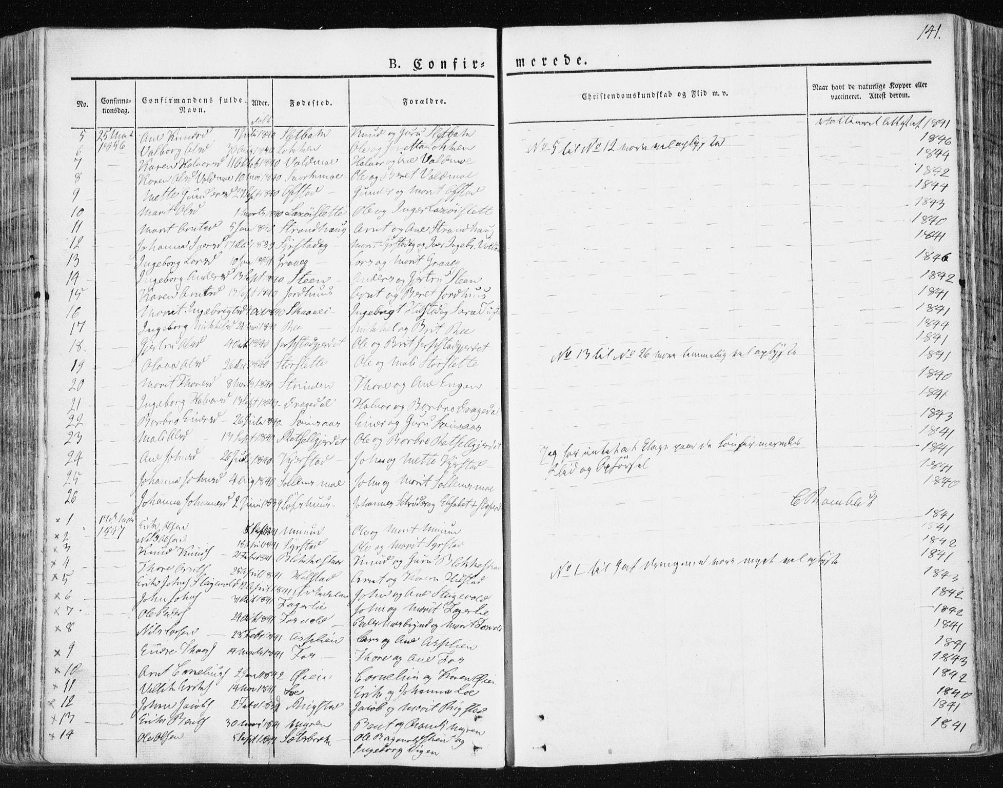 SAT, Ministerialprotokoller, klokkerbøker og fødselsregistre - Sør-Trøndelag, 672/L0855: Ministerialbok nr. 672A07, 1829-1860, s. 141
