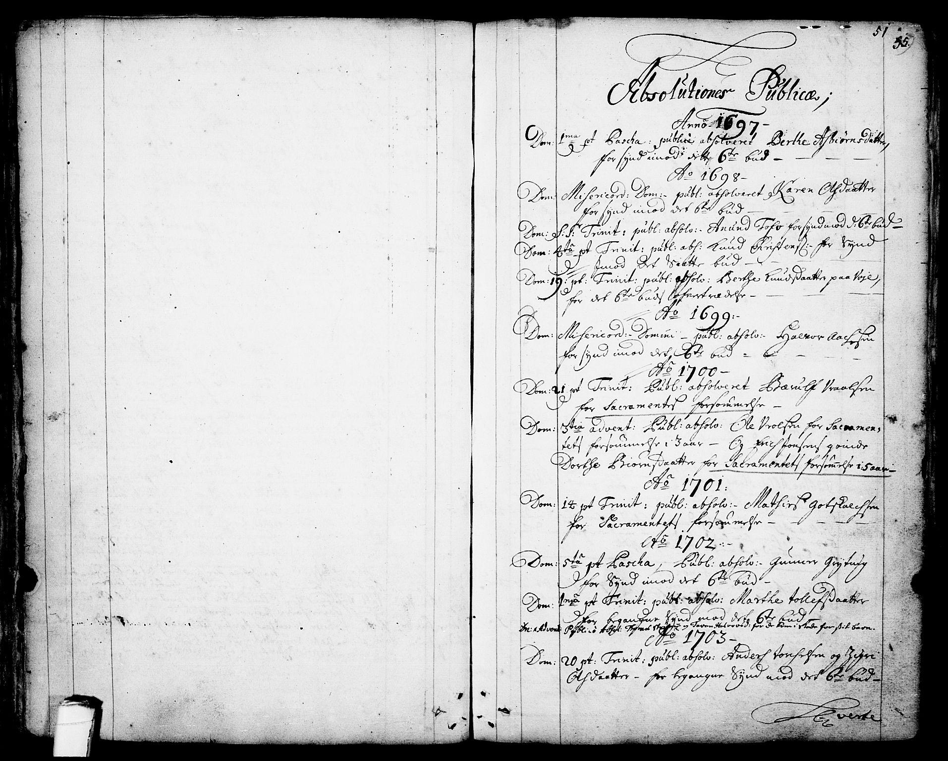 SAKO, Drangedal kirkebøker, F/Fa/L0001: Ministerialbok nr. 1, 1697-1767, s. 51